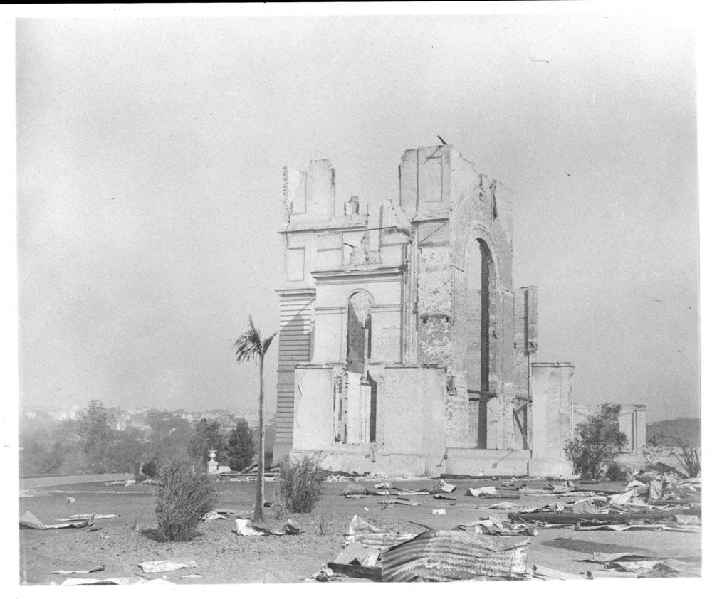 Garden Palace ruins after fire, taken from Garden Palace Grounds