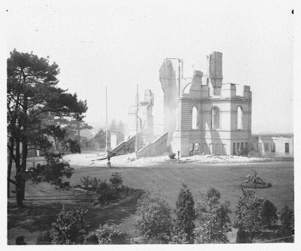 Garden Palace ruins after fire, taken from Reform Club, Macquarie, 1882