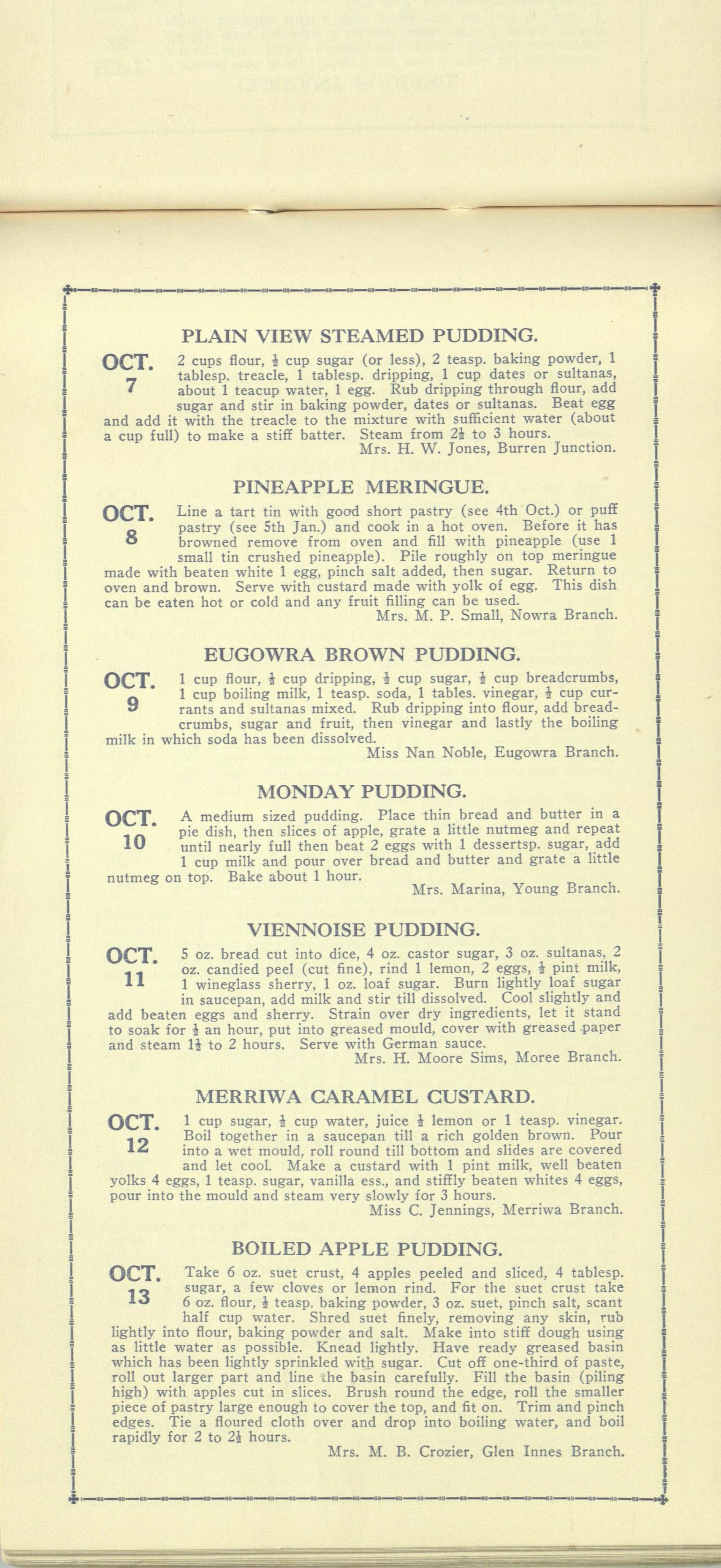 Country Women's Association of New South Wales calendar of puddings from 1931 (7 October - 13 October)