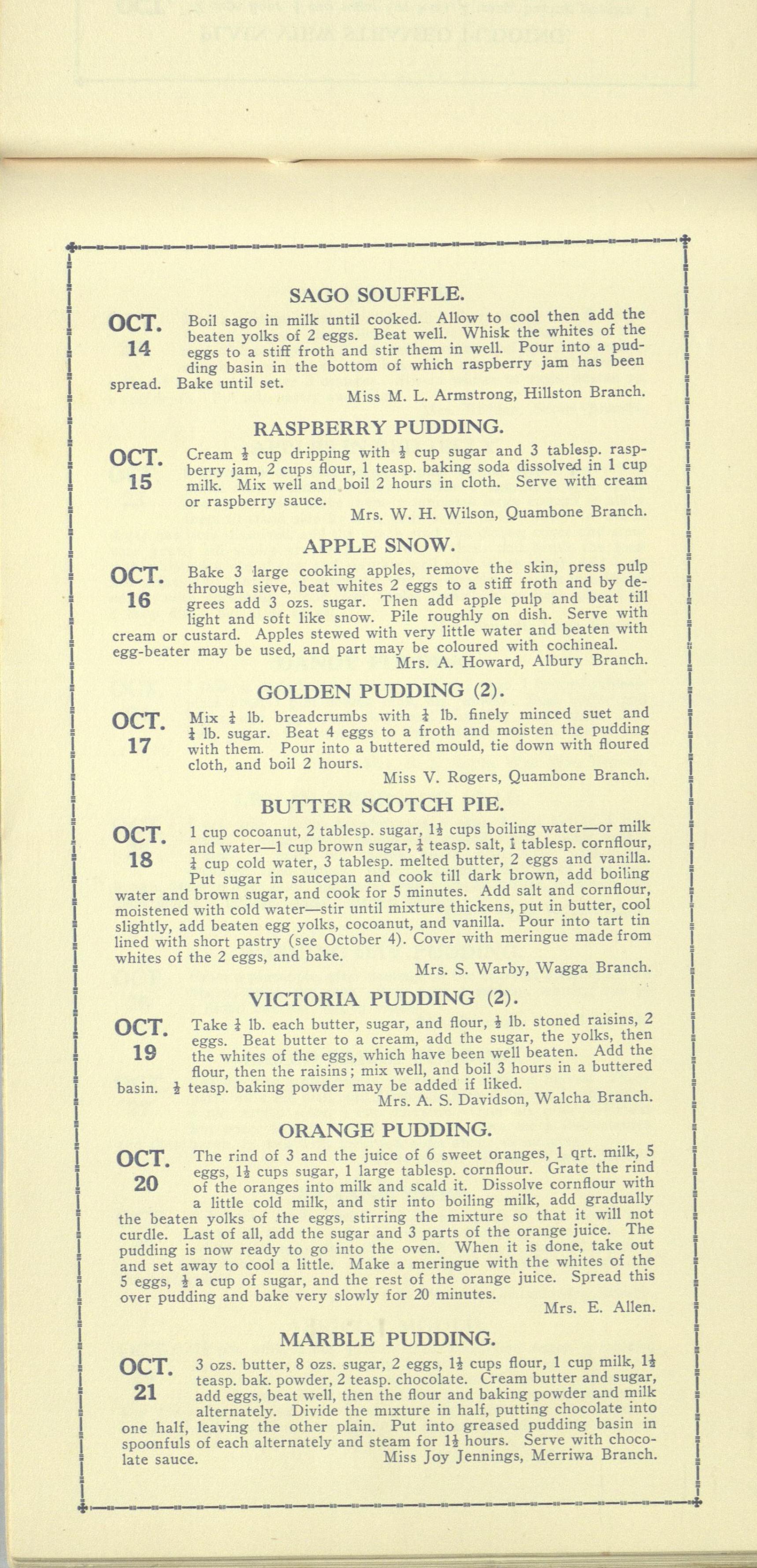 Pudding Calendar 15 Oct - 21 Oct