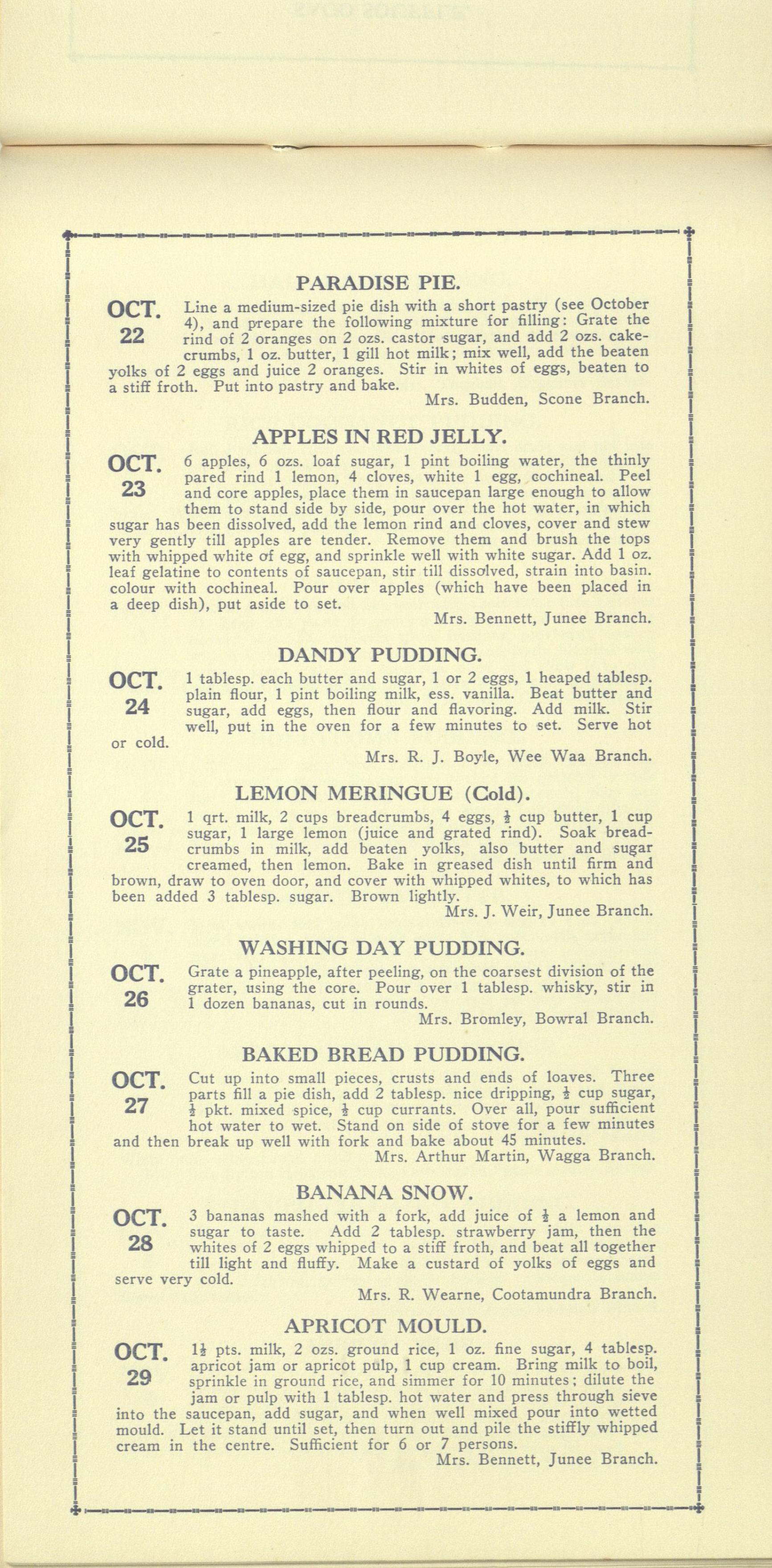 Pudding Calendar 22 Oct - 28 Oct
