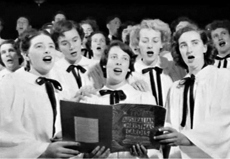 David Jones Choir singing in the store, Christmas 1952-1954