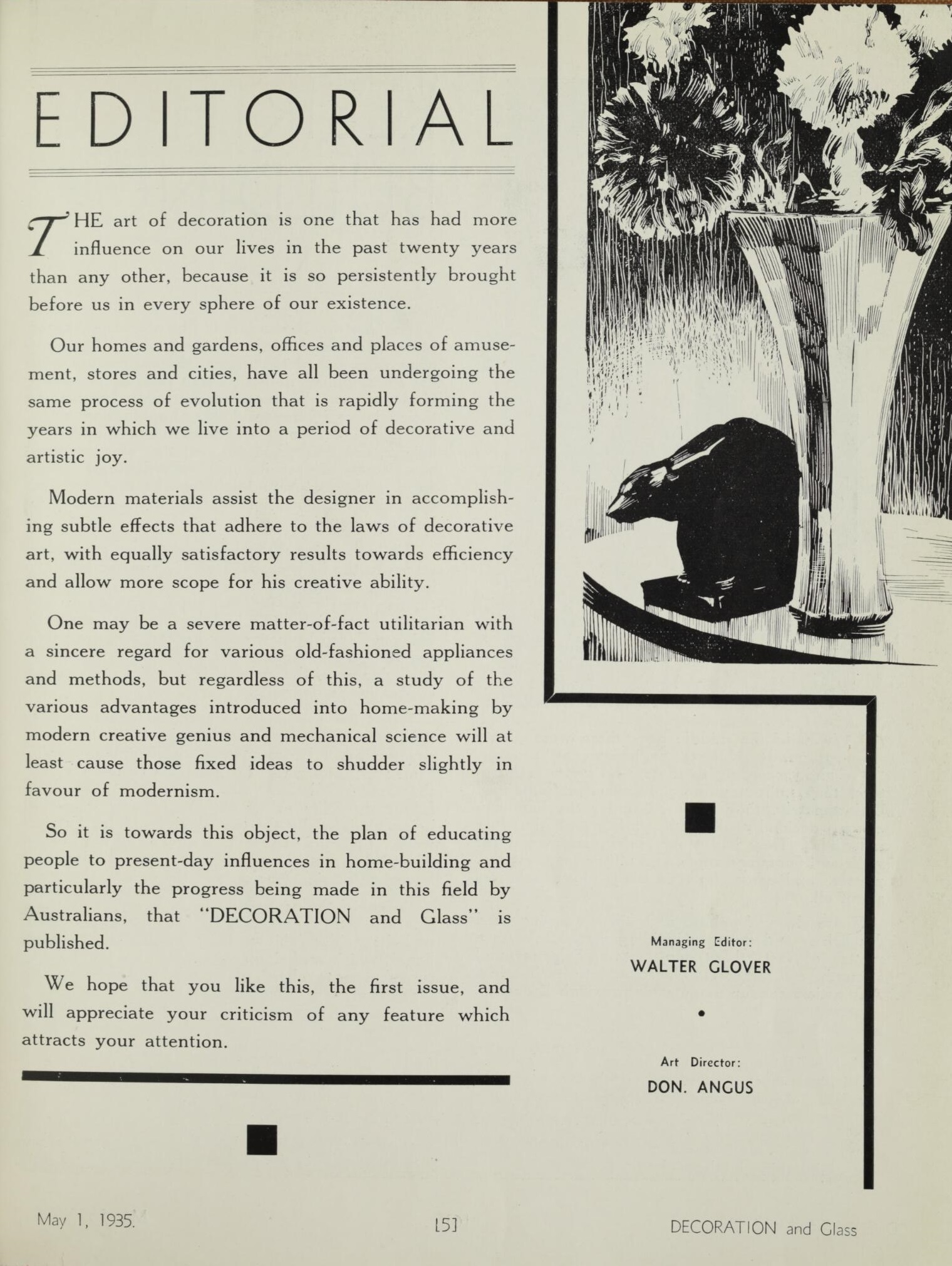 Decoration and Glass May 1935, editorial