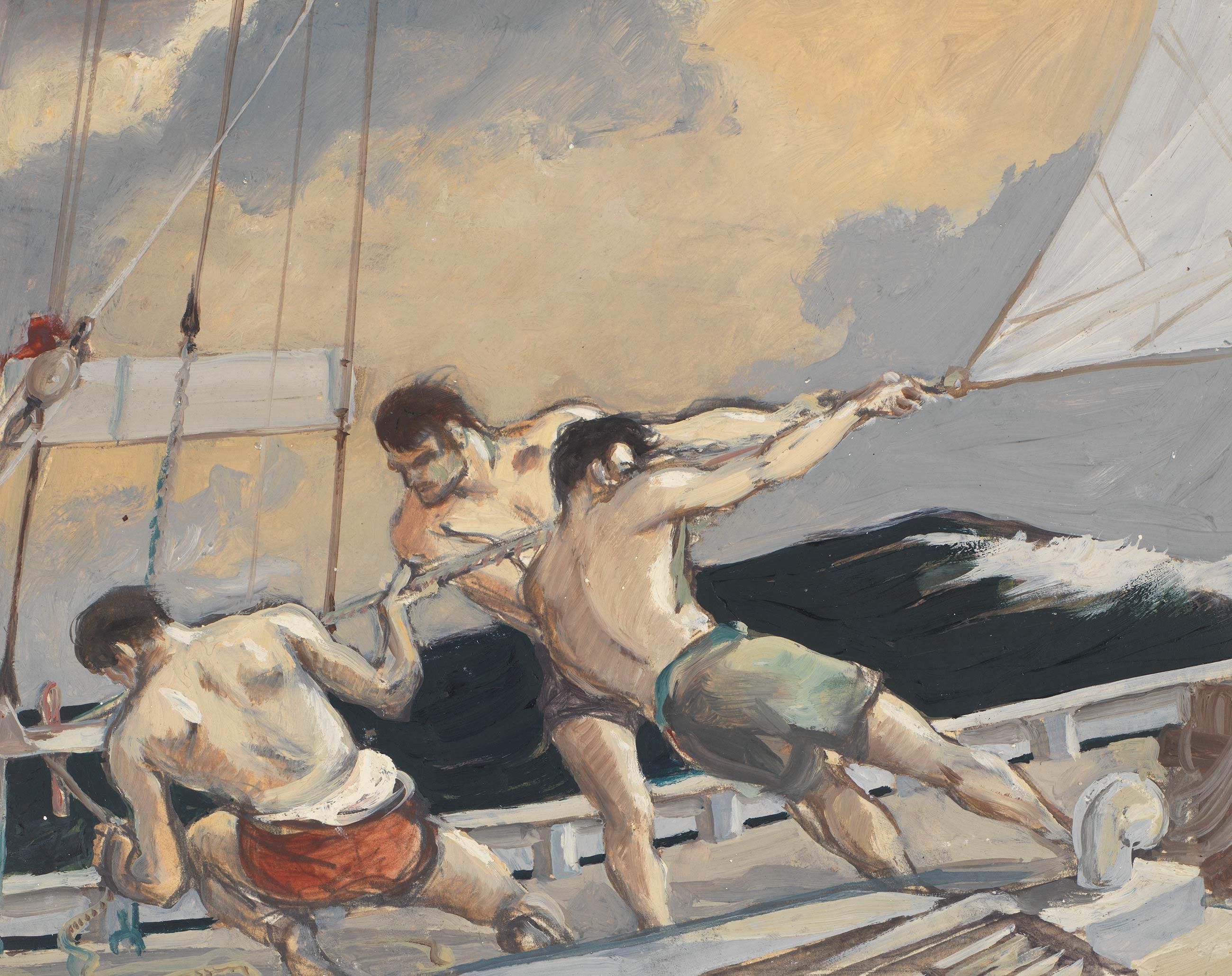 Detail: Sheeting in the spinnaker: Kathleen's voyage, Ascension Island, Receife, Brazil: Jan, Feb, March 1948: Log 7