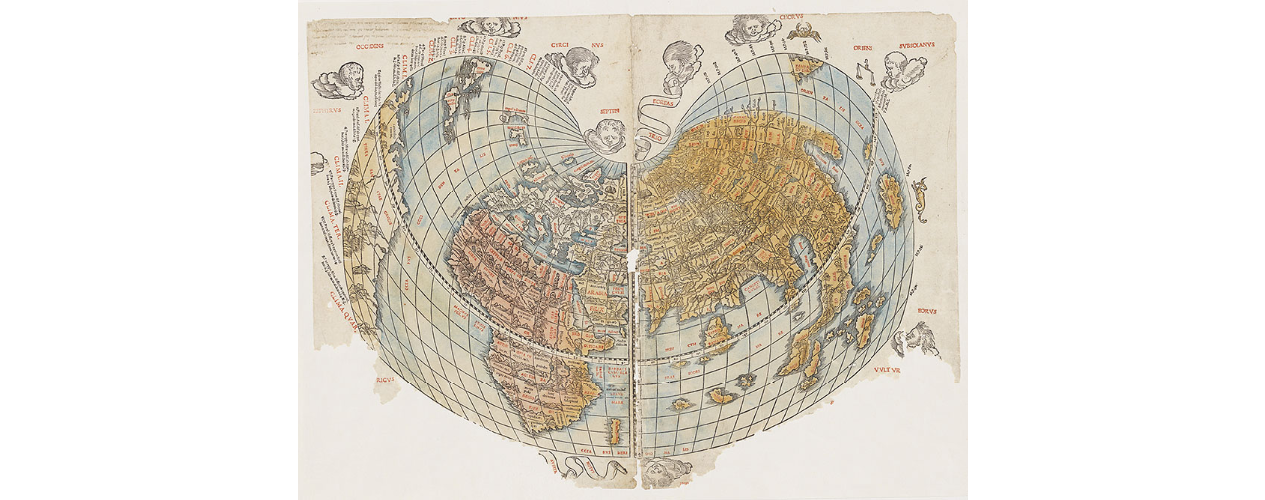 Coloured map of the world. It appears distorted with several continents missing.