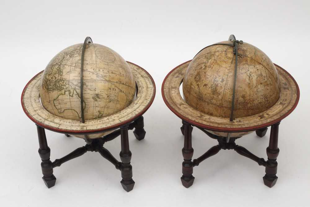 A pair of terrestrial and celestial 9 inch desktop globes