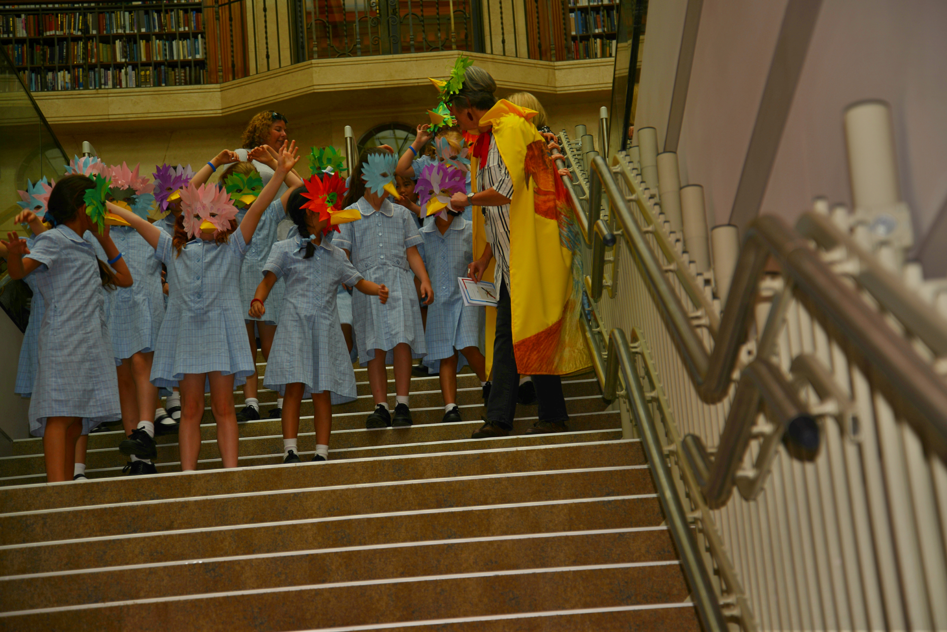 students on stairs in costume