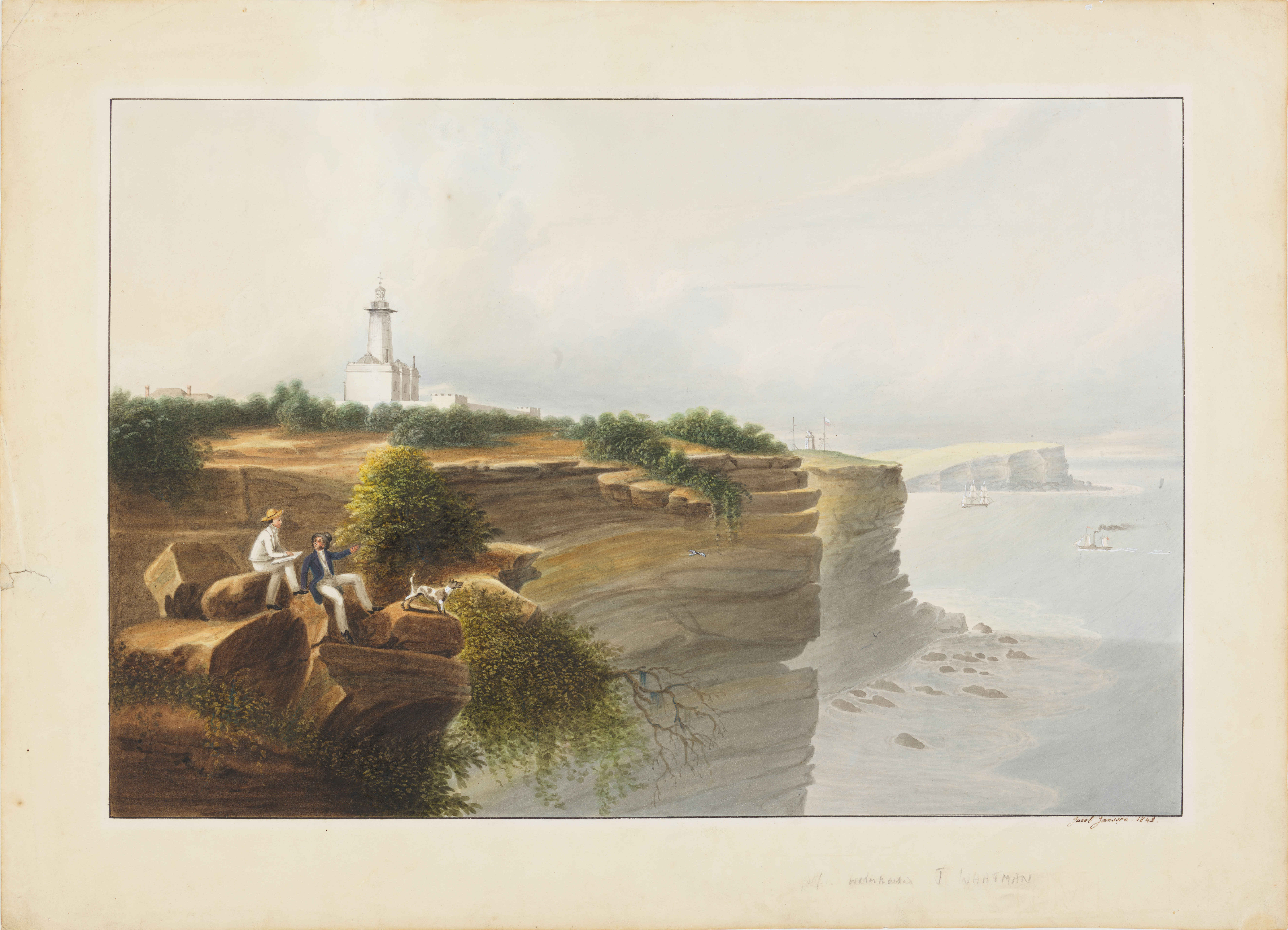 A painting of a cliff by the sea, with two men and a dog in the foreground and a lighthouse in the middle distance.