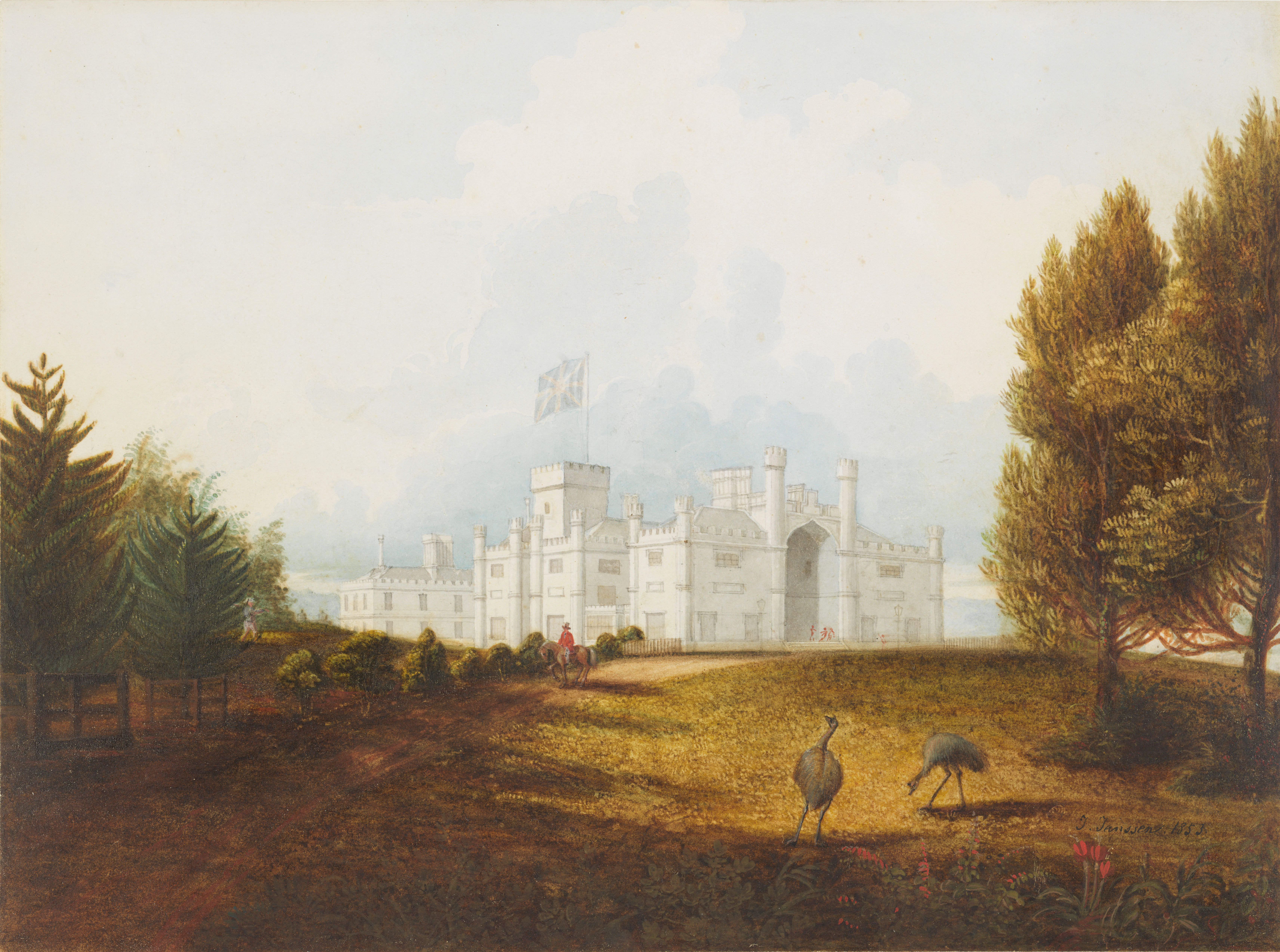 A painting of a view of Government House, with emus in the garden in the foreground and a horseman on the garden track.