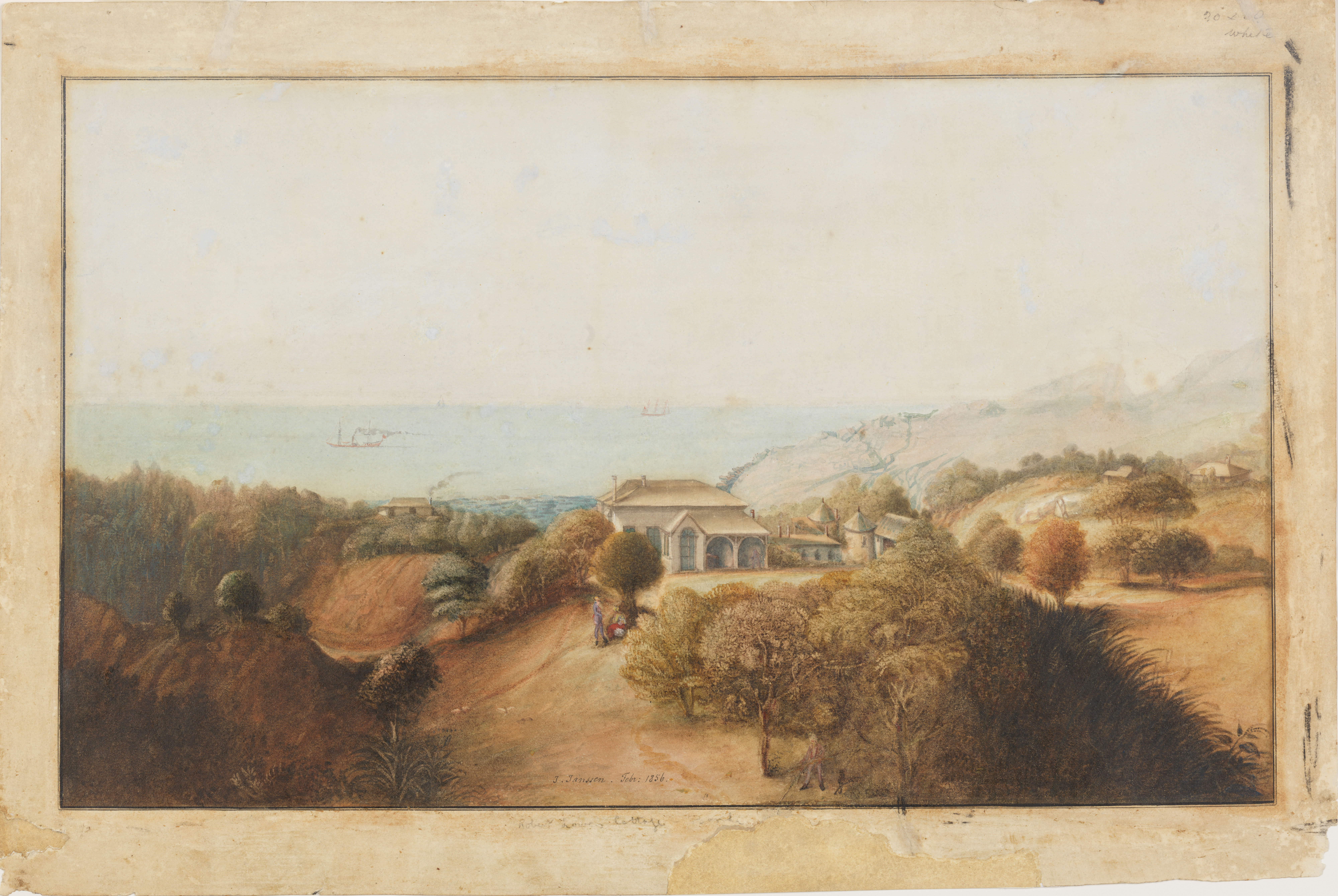 A painting of a view of Bronte House, with hills and bushland in the foreground and the sea with several ships in the distance.