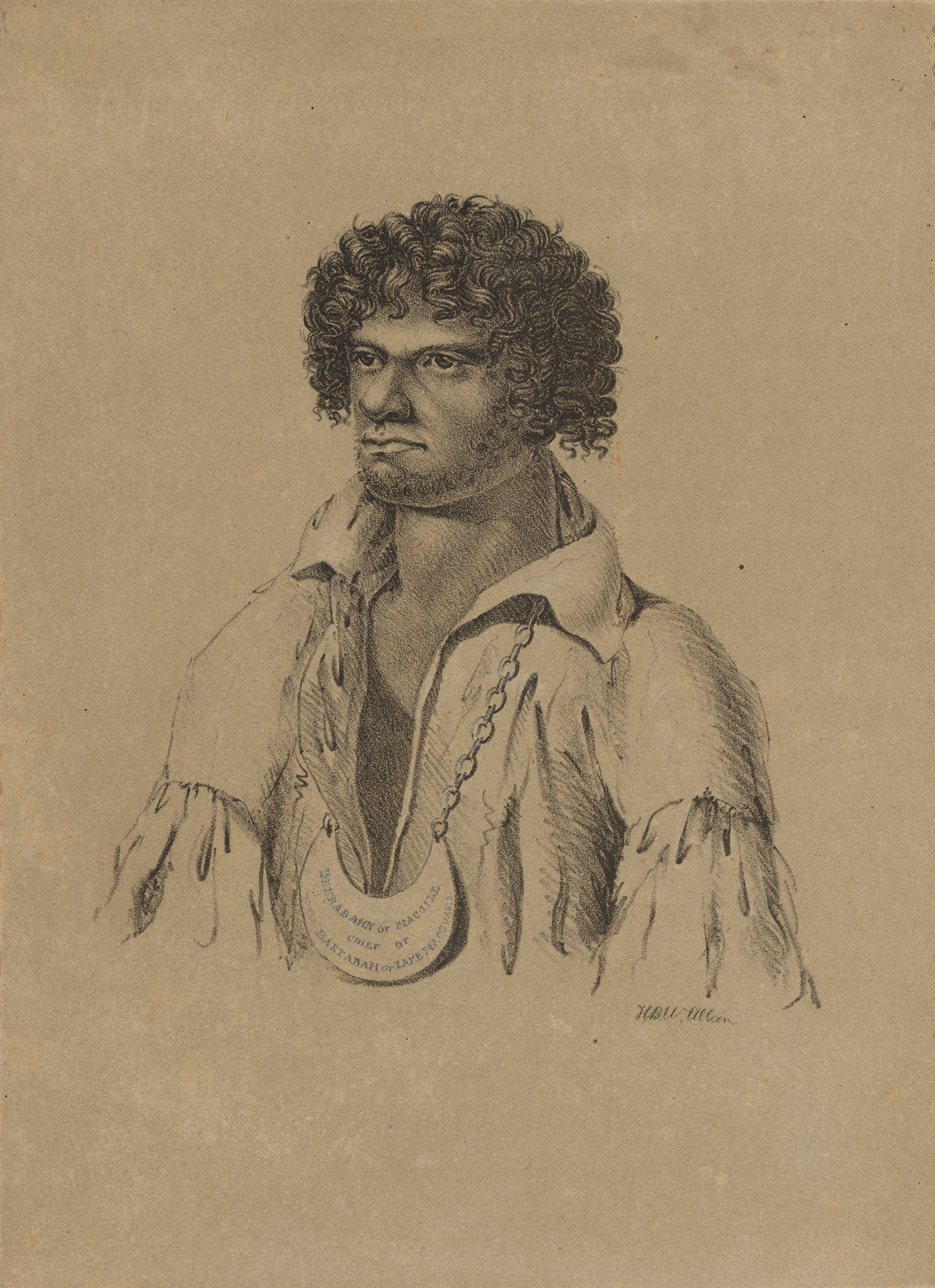 A sketch portrait of an Aboriginal man.
