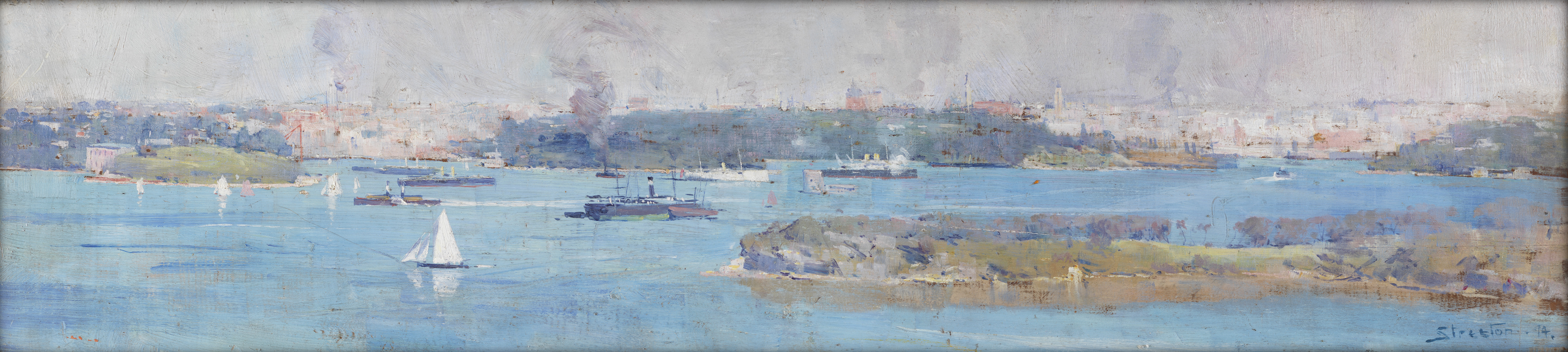 painting: Panoramic view of Sydney Harbour and the city skyline, by Arthur Streeton in 1894