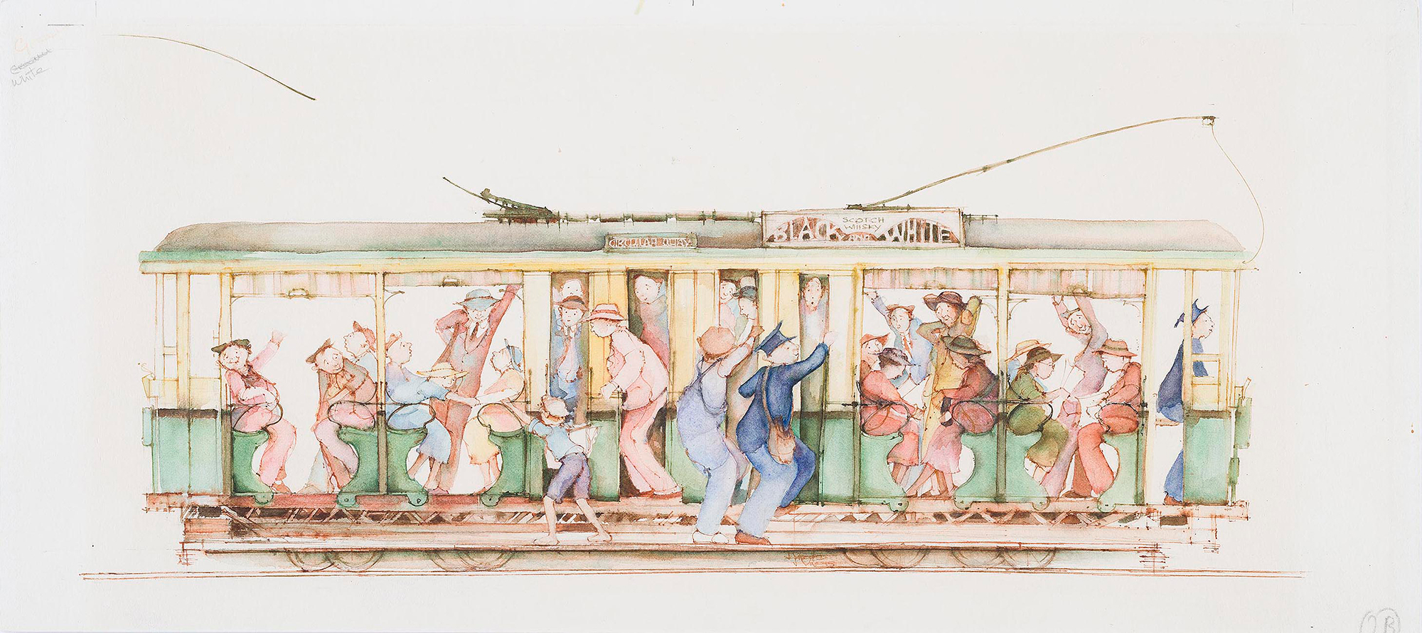 Drawing of an open tram filled with passengers.