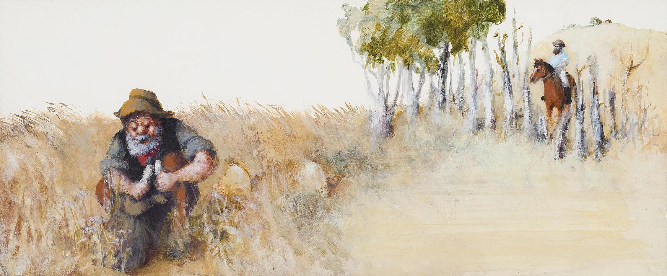 A man crouches in the midst of tall grass.