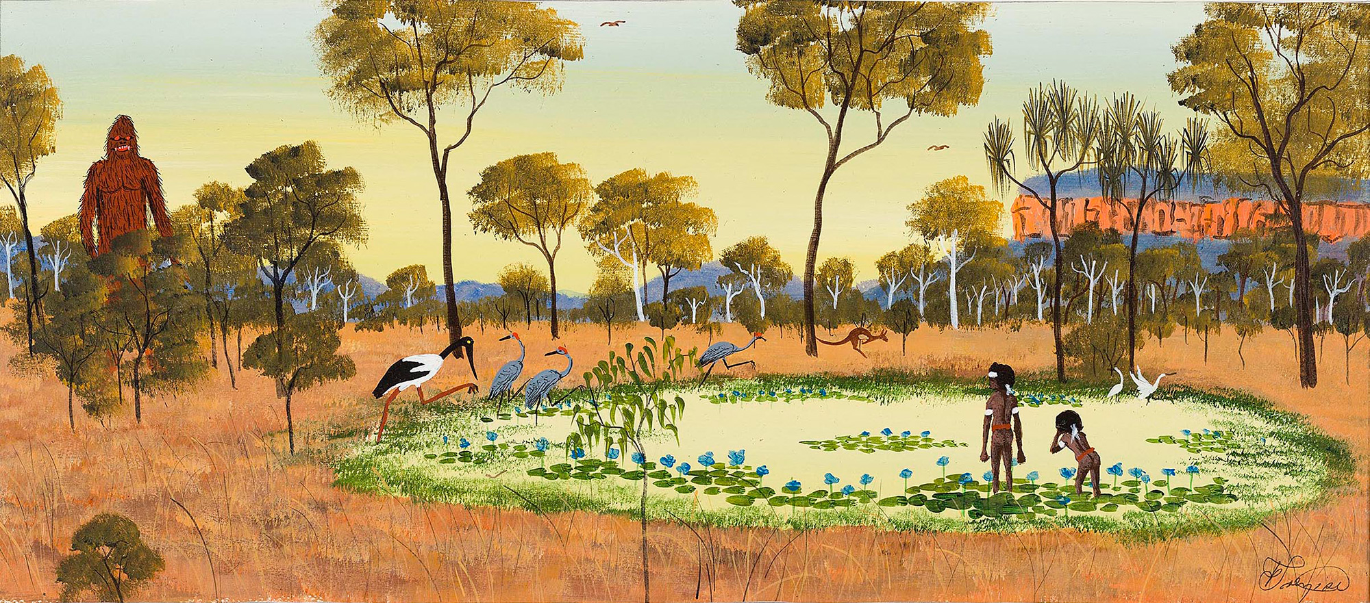 A painting of two Aboriginal boys in a lake, surrounded by water birds.