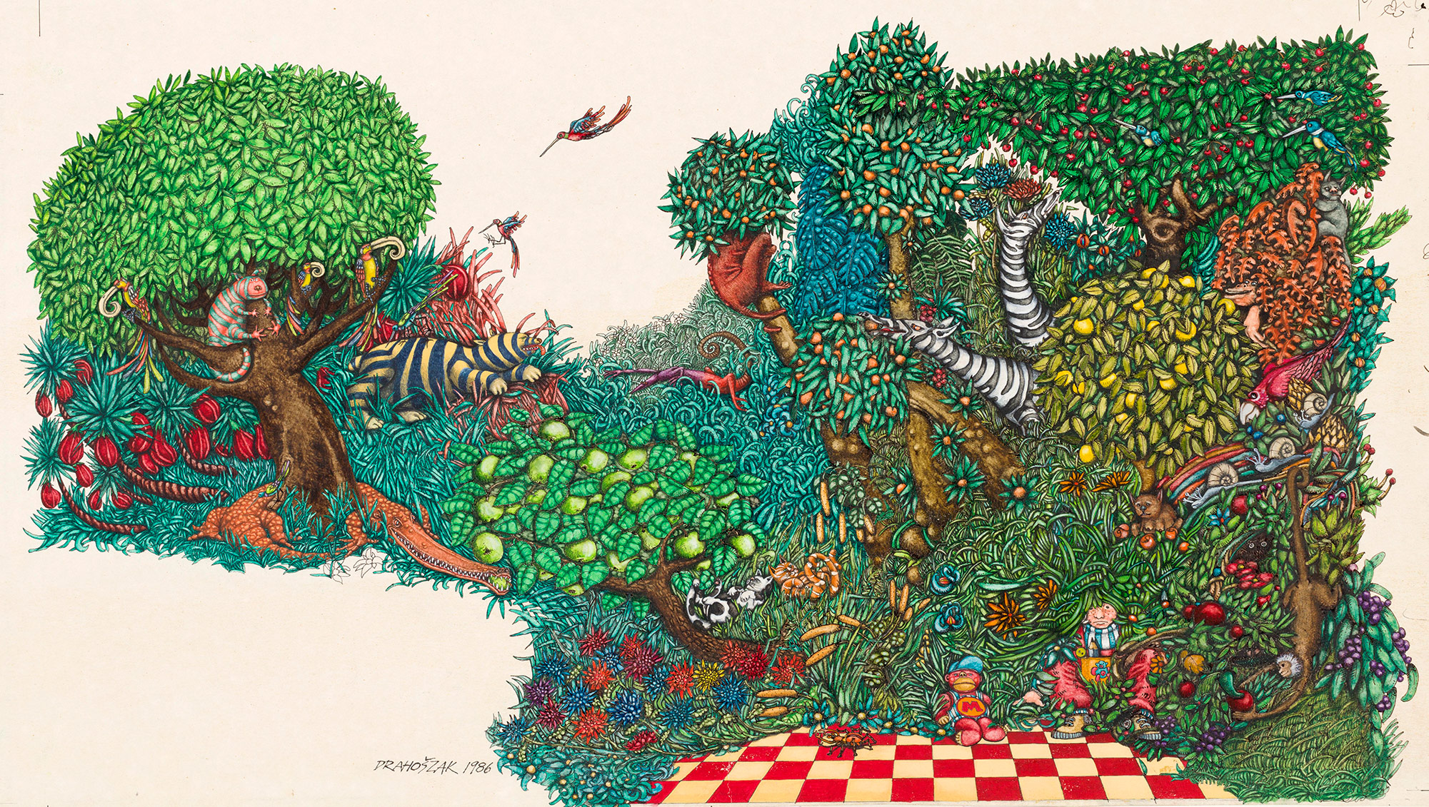 Illustration of a dense thicket of plants and the animals among it.