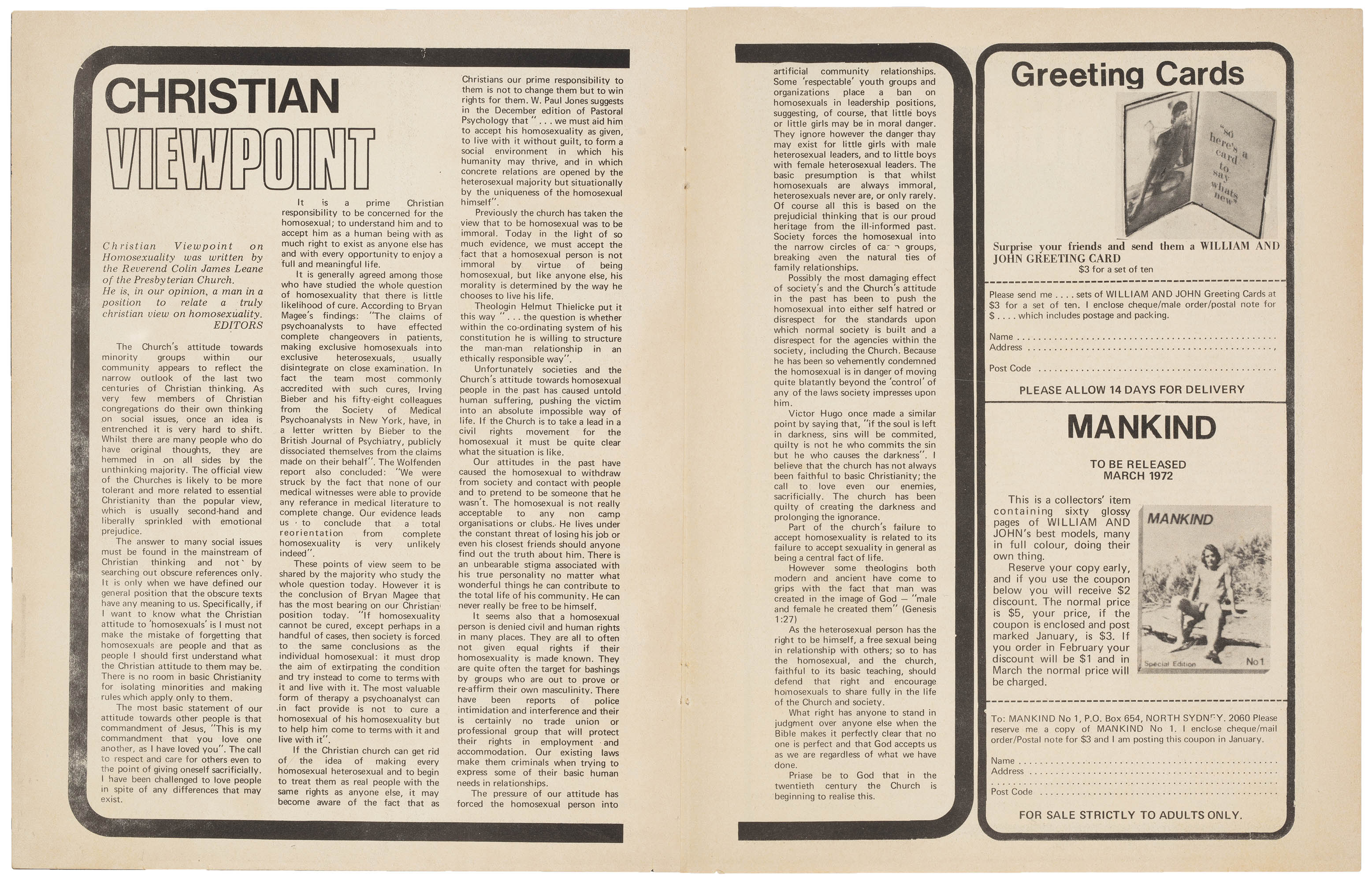 Christian Viewpoint, William and John, Vol 1. no.1