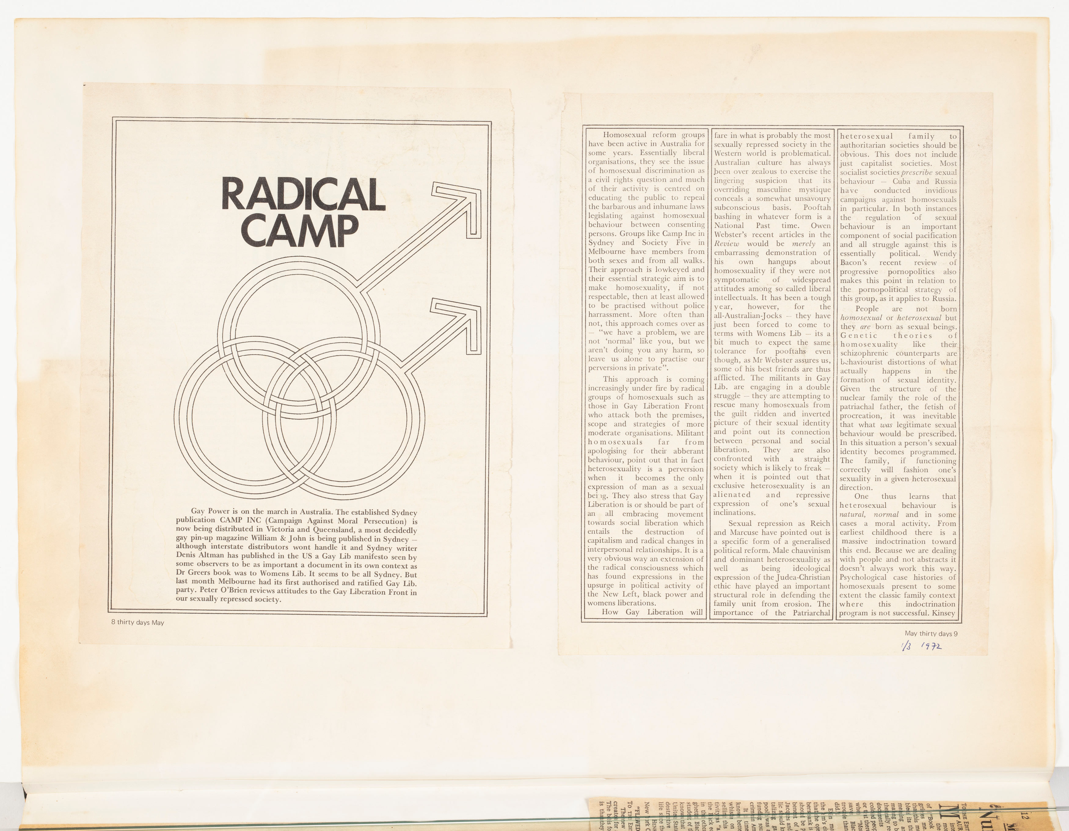 """""""Radical Camp"""", Maythirty, p.9: Terrence Bell Scrapbook"""