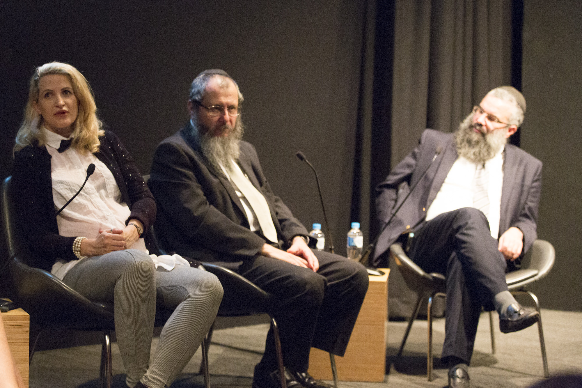 Photographer D-Mo Zajac in conversation with Rabbis Gourarie and Slavin, 10th March 2016, photograph by Joy Lai