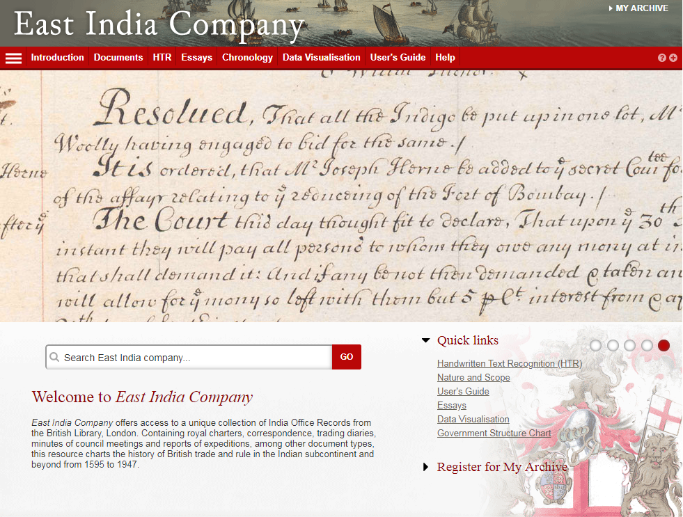 Screenshot of East India Company database