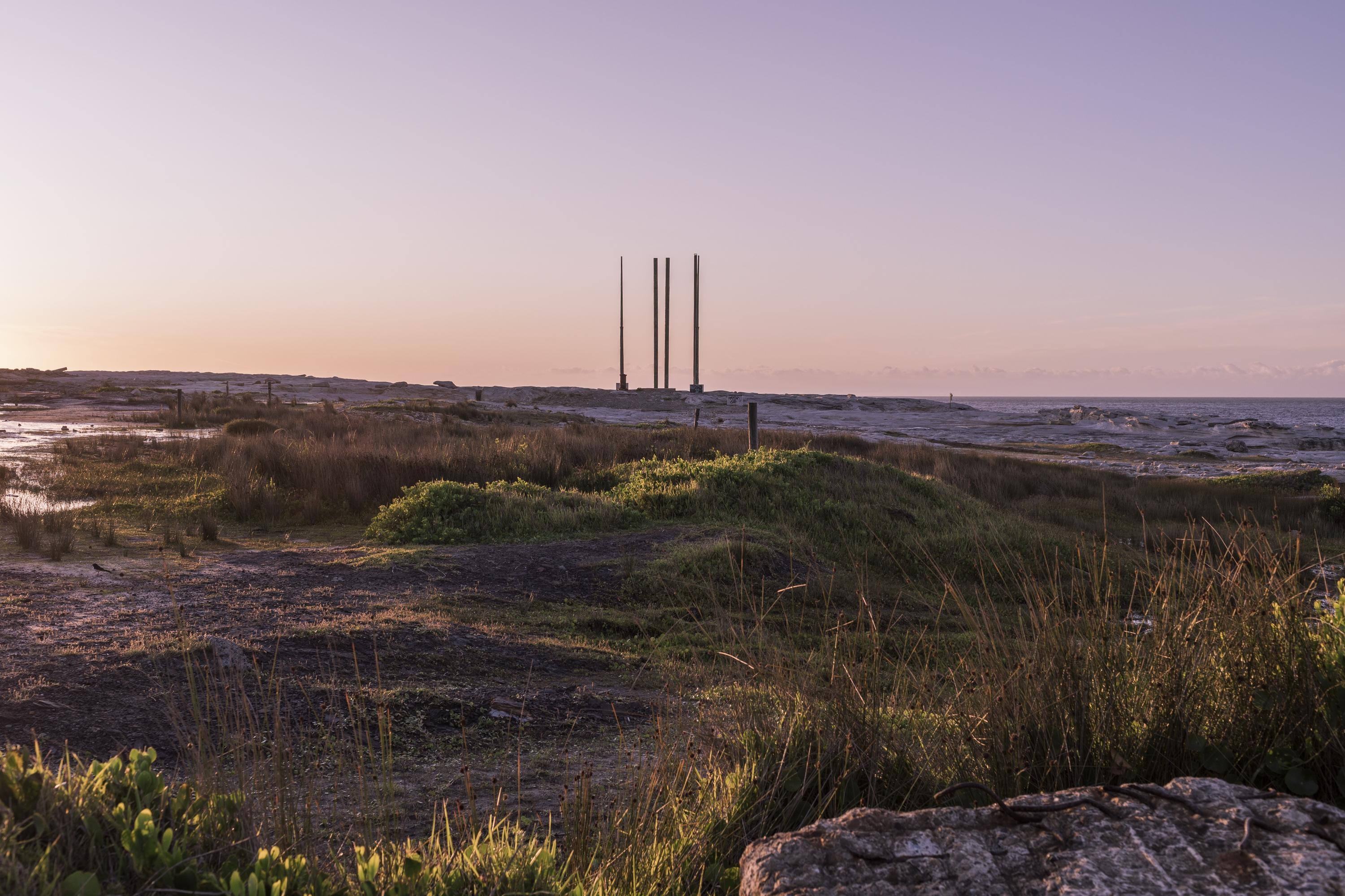 First light, looking towards Potter's Point, site to the clifftop sewage outlet