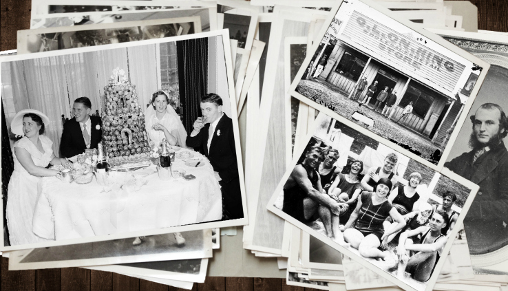Collage of family history resources