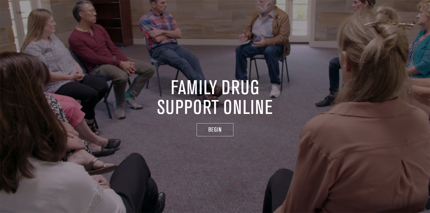 Screenshot of opening screen of family drug support online resource