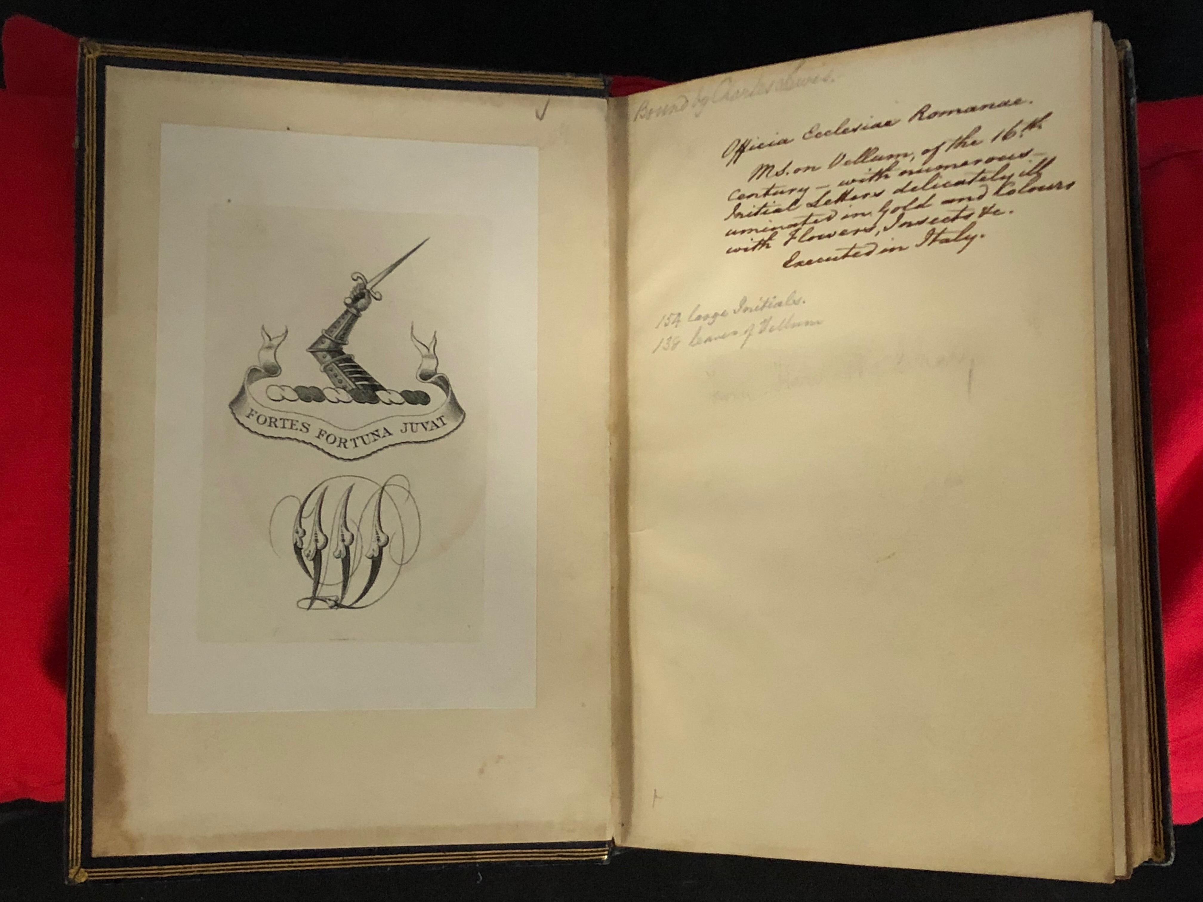 Sir William Dixson's bookplate: A manuscript on vellum