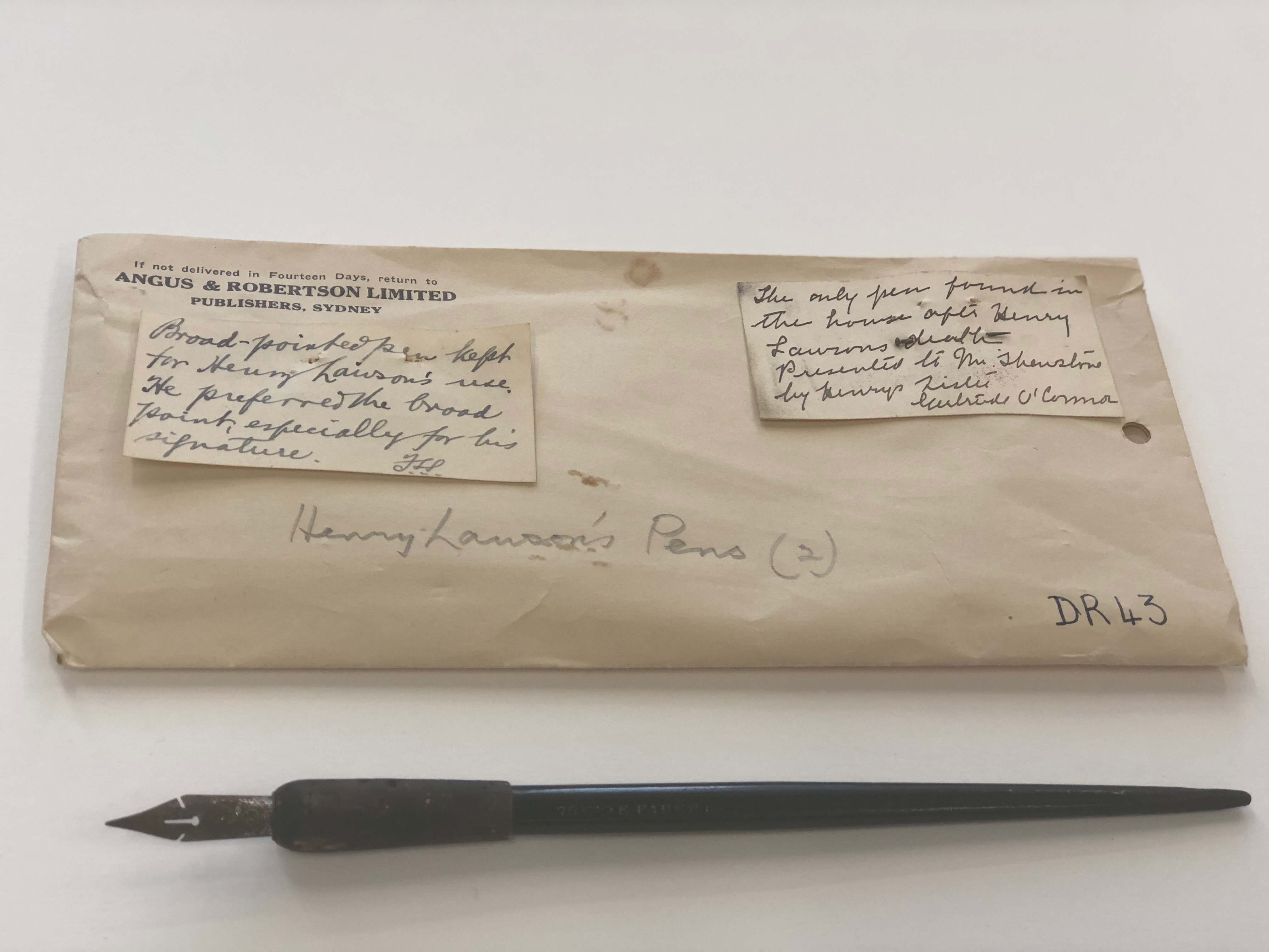 Henry Lawson pen and writing folder