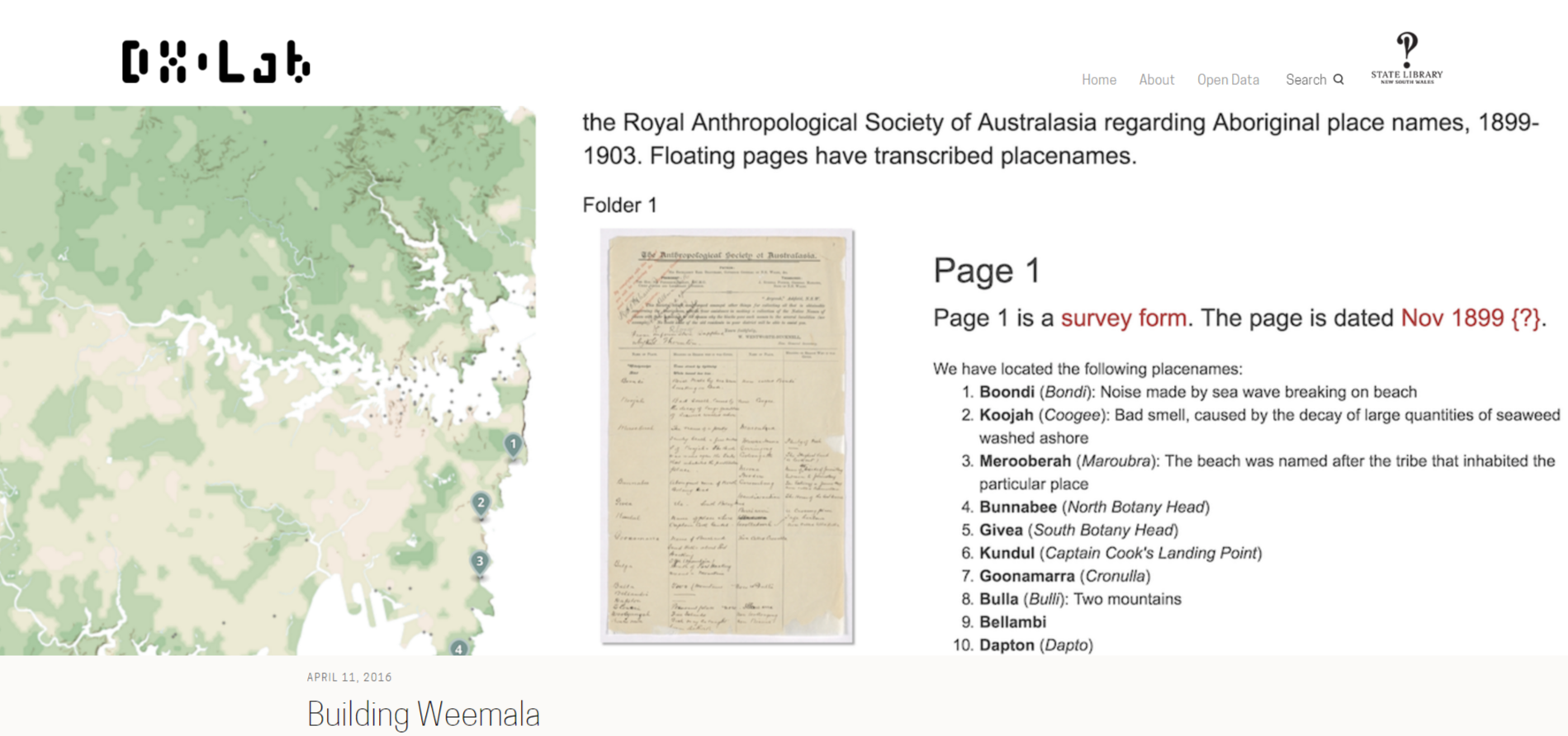 Screenshoor of a map and manuscripts