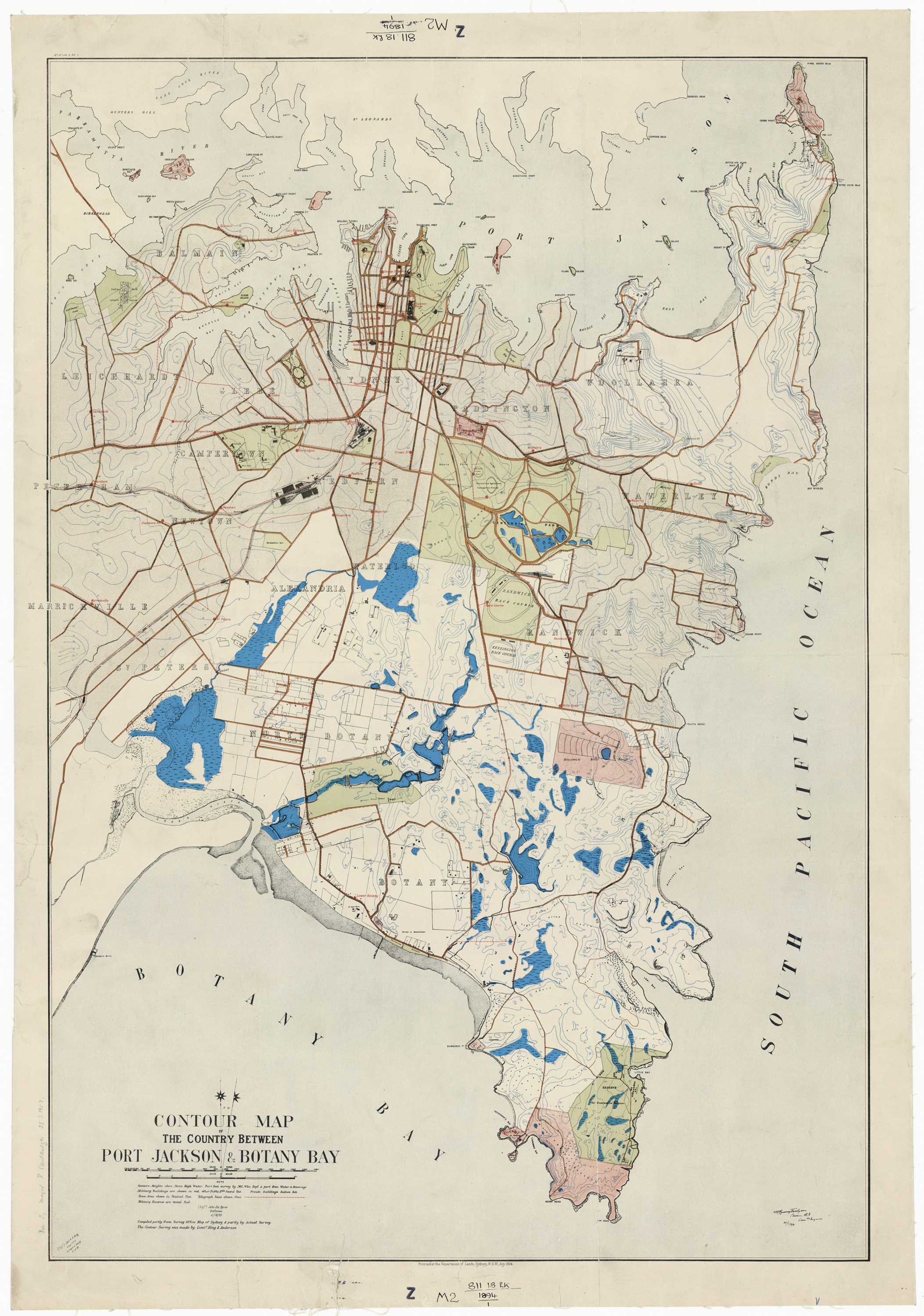 Contour map of the country between Port Jackson & Botany Bay, Sydney, Department of Lands, 1894 - The blue areas, as overlaid by the author, indicate swamp boundaries.