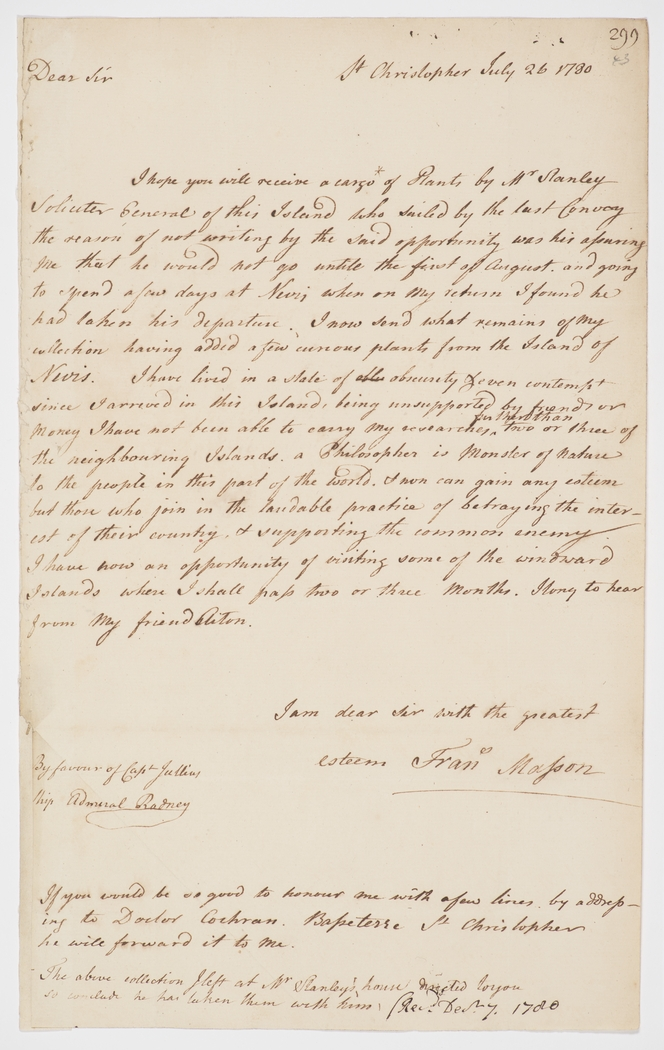 Series 13.18: Letter received by Banks from Francis Masson, 26 July 1780