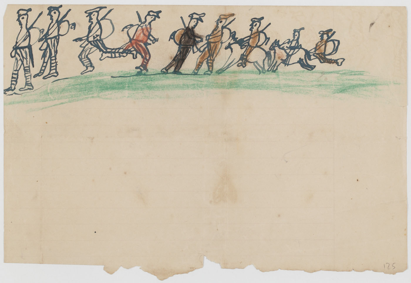 A drawing depicting soldiers marching on a green plain.