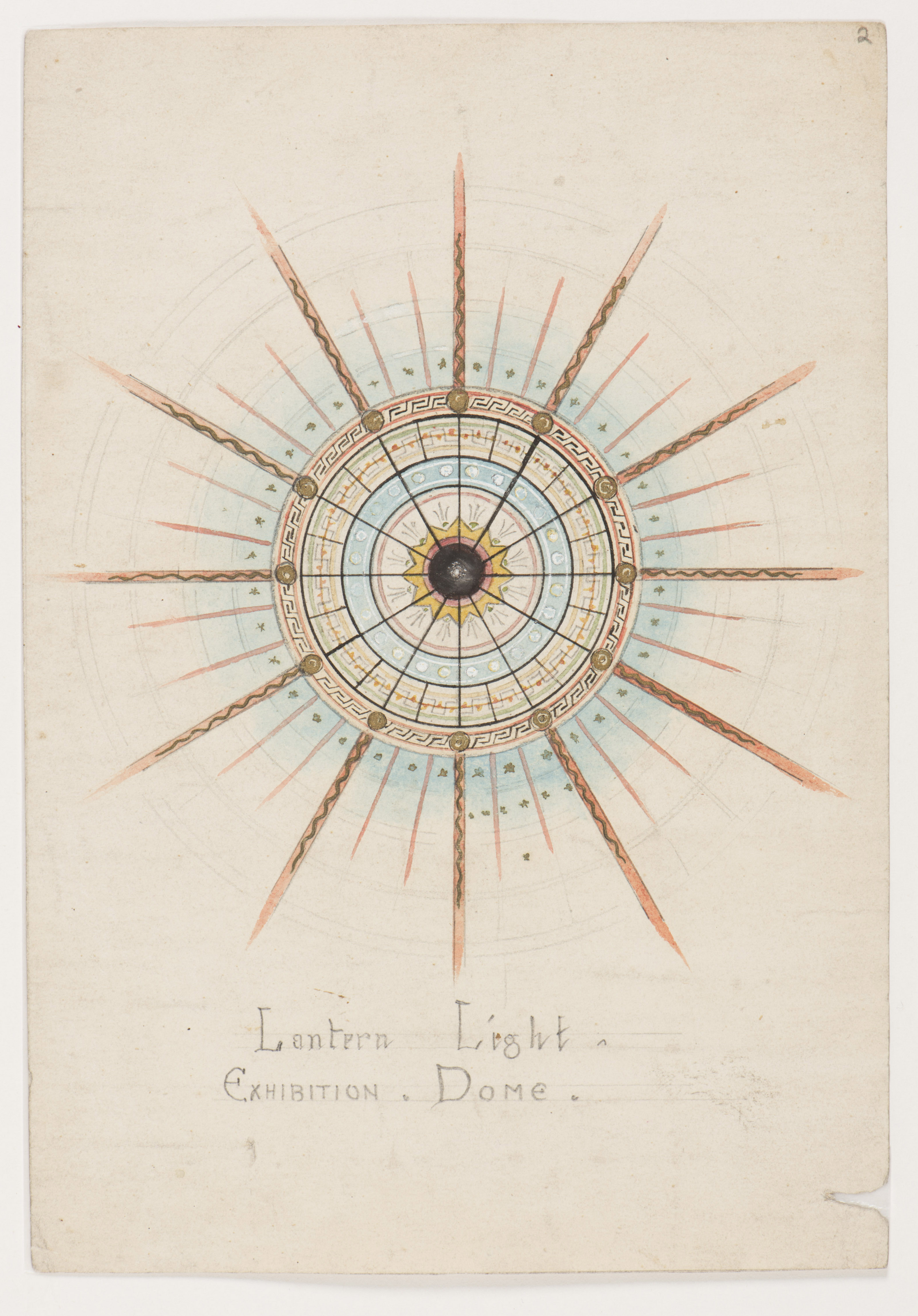 Pencil and watercolour design for stained glass window, circular shape,  lines radiating from centre