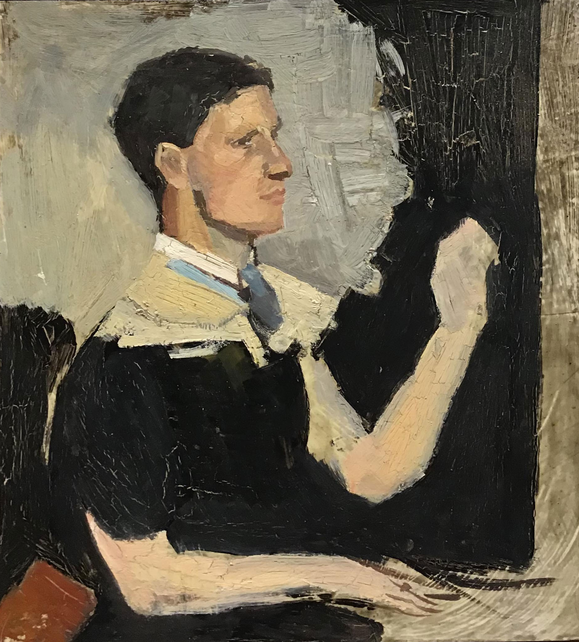 Hadyn Wilson painting in response to Portrait of a man by George Washington Lambert, 1894-1930