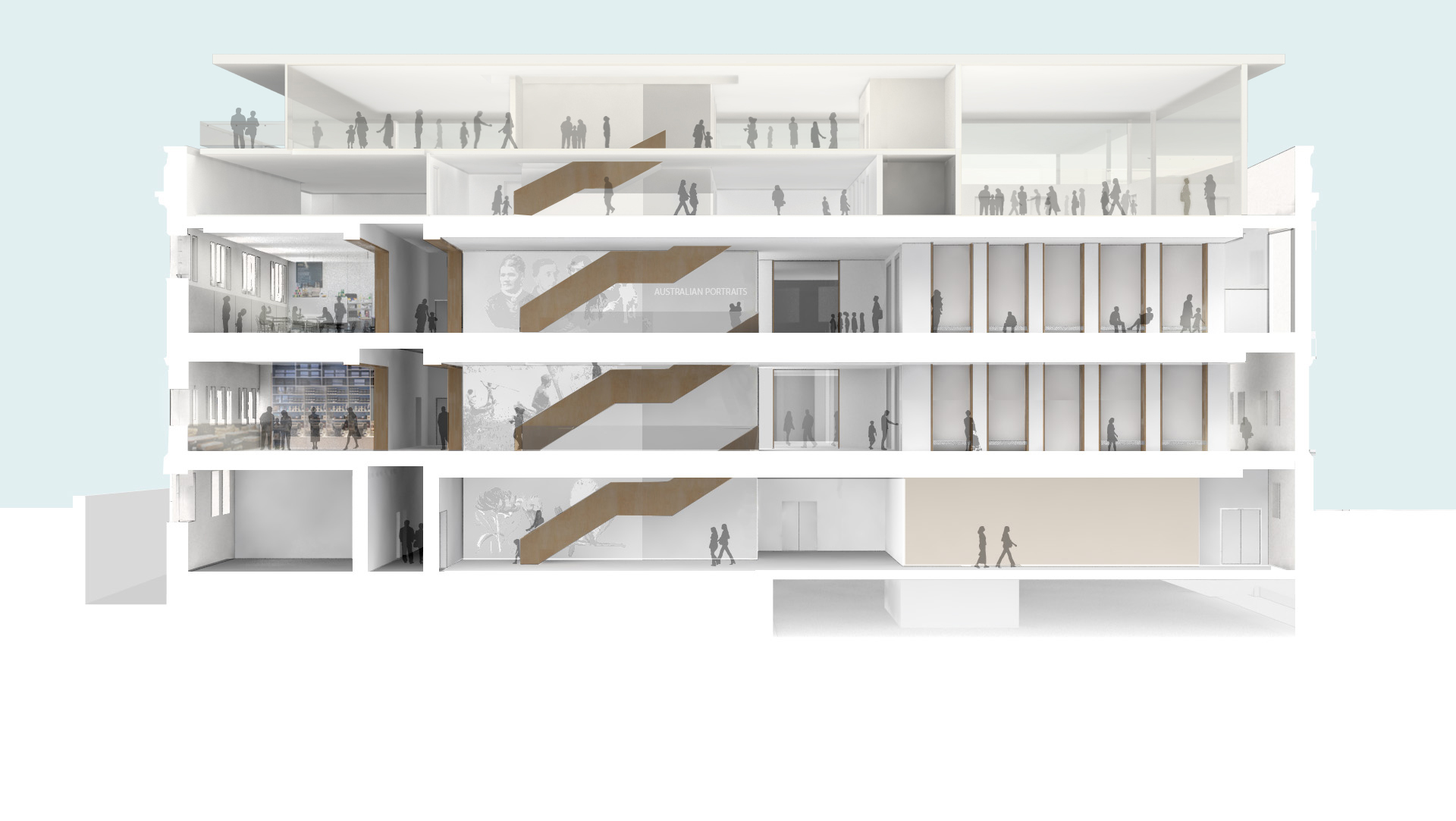 Artist's impression of circulation galleries (multi-level view) Source: Hassell