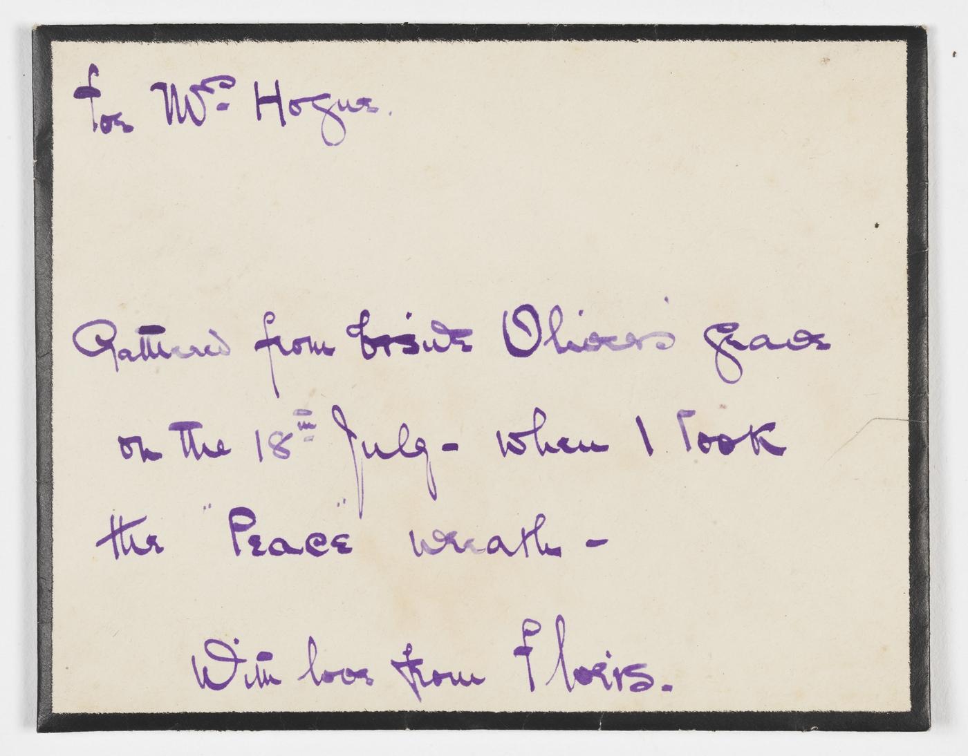 A note written in blue ink.