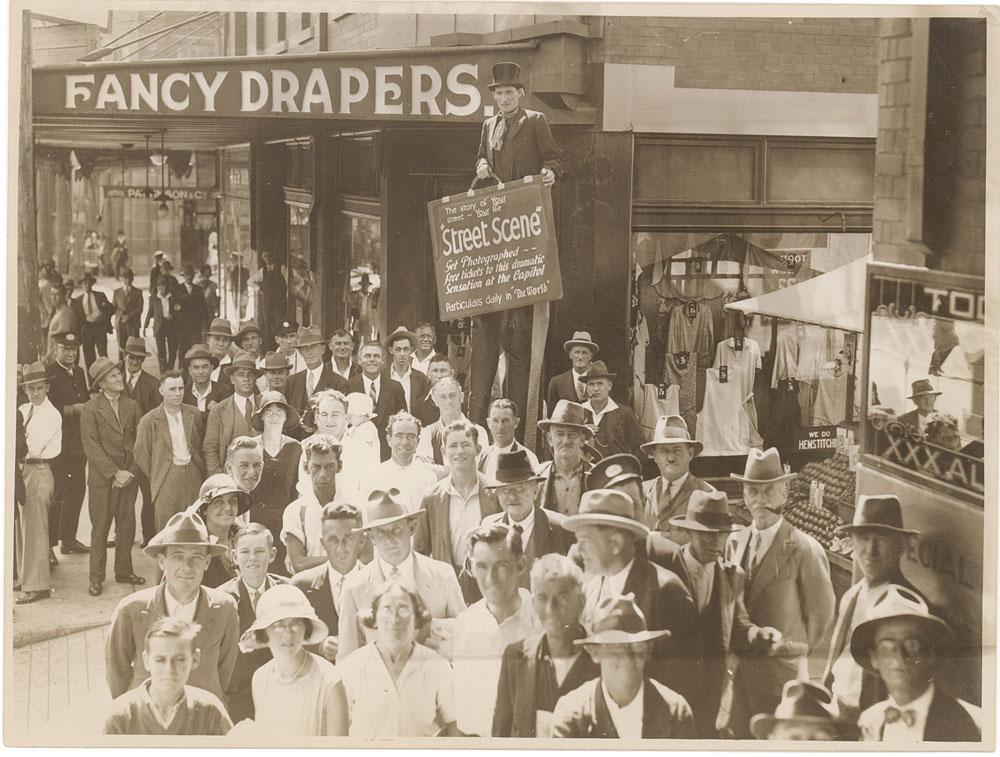 "Advertising ""Street scene"", c. 1932, by Sam Hood, Silver gelatin photoprint, PXE 789/56/53"