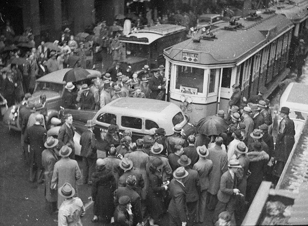 Tram and taxi accident, 1937, by Sam Hood, Copy negative, Home and Away, 15214