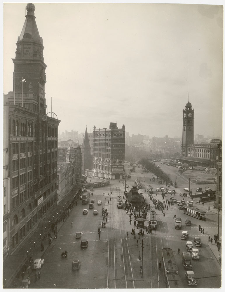 Railway Square, c. 1945, by unknown photographer, Silver gelatin photoprint, PXA 907/16/33