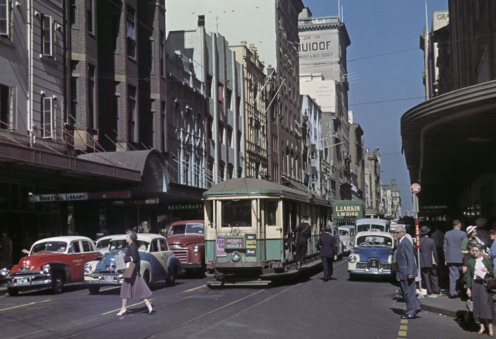 Castlereagh Street, c.1956, by John Alfred, Colour transparency, Slides 41/597