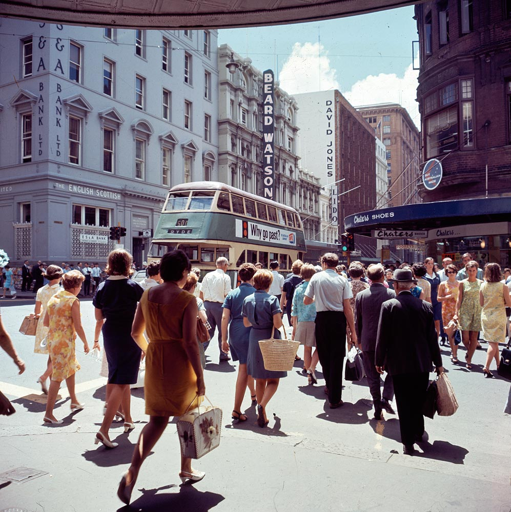 Pedestrians in George Street, 1968, by Jack Hickson, Colour transparency, APA 46146