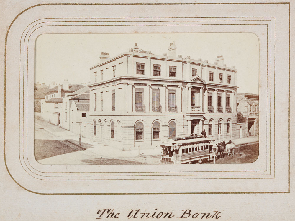 Union Bank, Pitt Street, c. 1863, by unknown photographer, Carte de visite, PXB 258/18