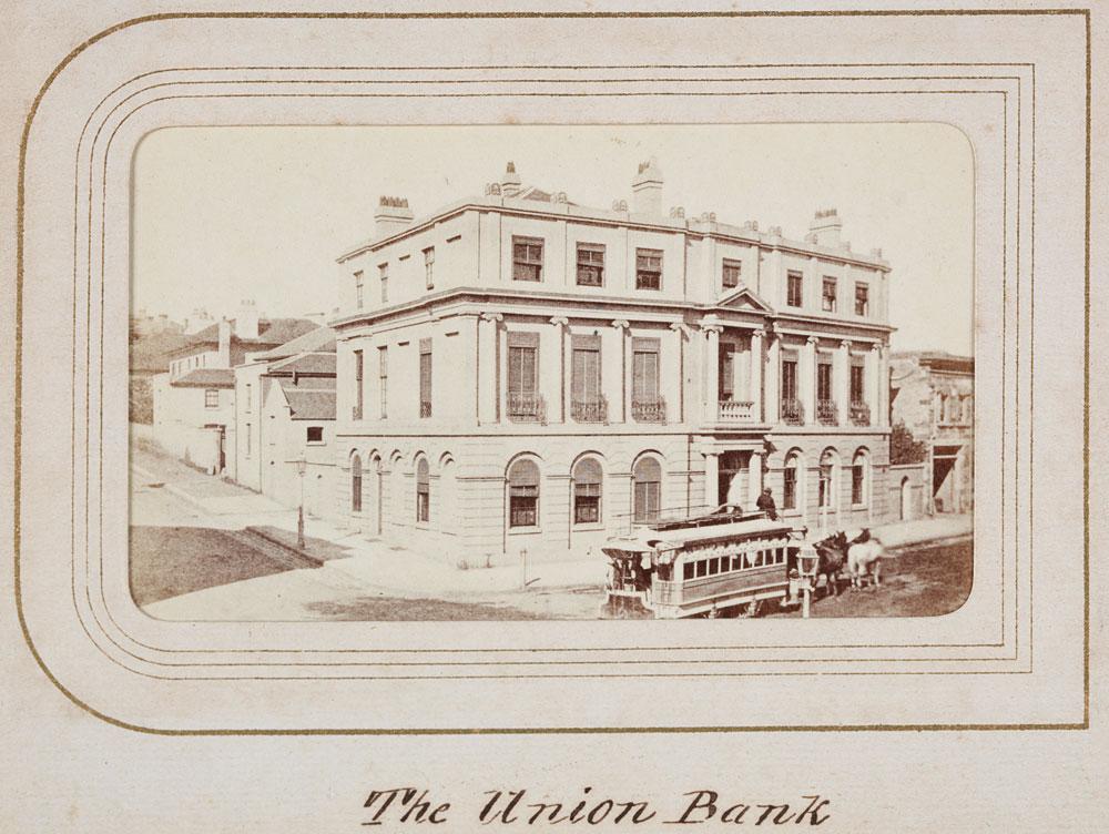 Union Bank, Pitt Street, c. 1863, by unknown photographer, Carte de visite, PXB 258/18