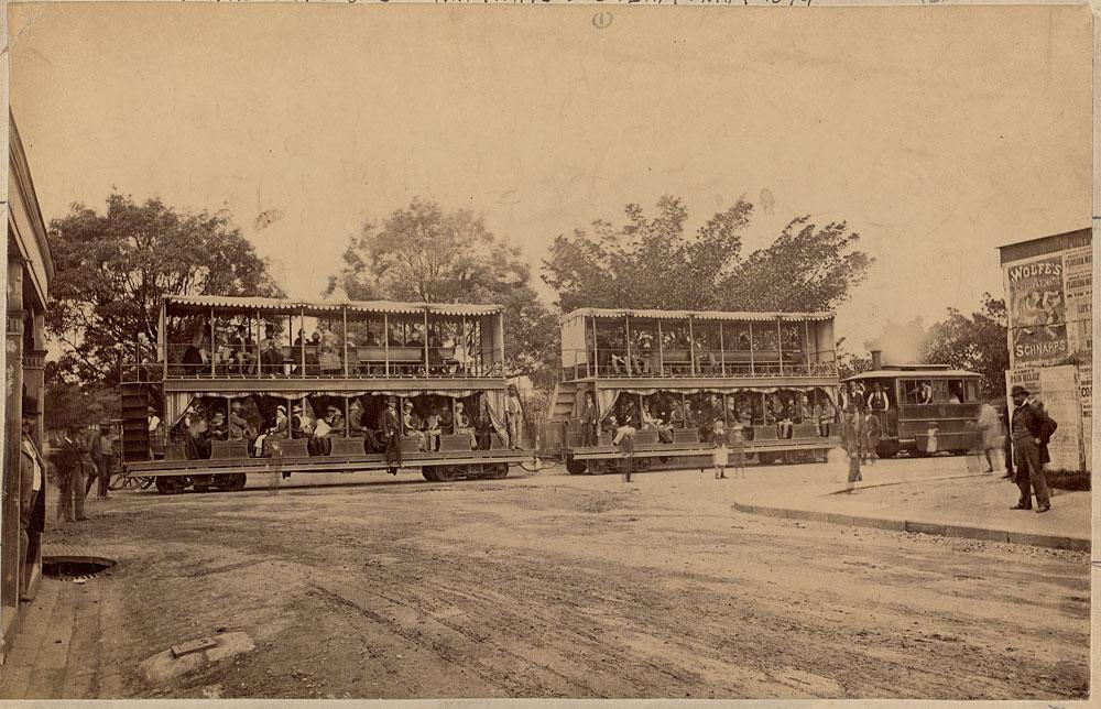 Double-decker steam tram, c. 1880, by unknown photographer, Albumen print, SPF/340