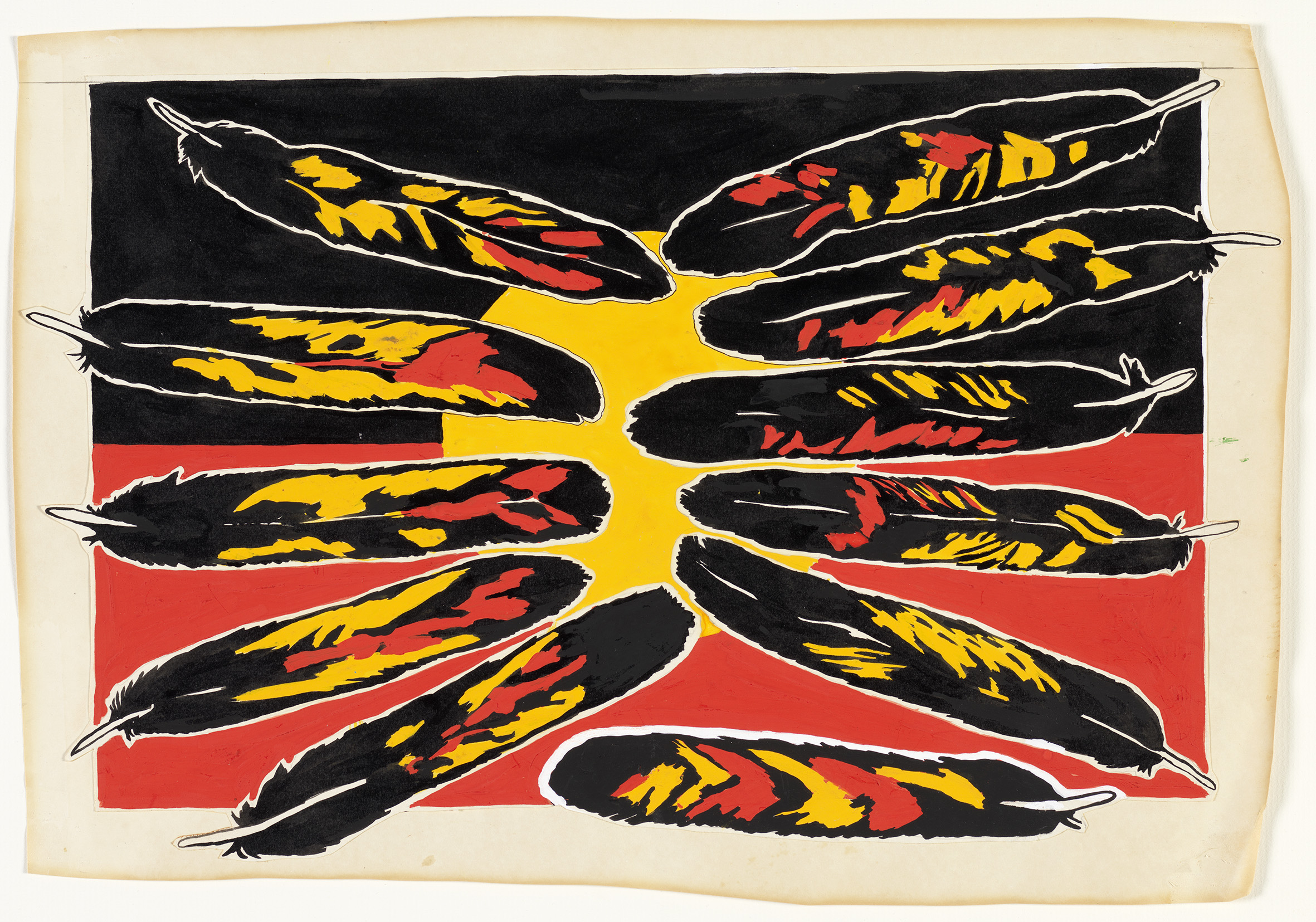 A black, red and yellow graphic of feathers splayed in a pattern
