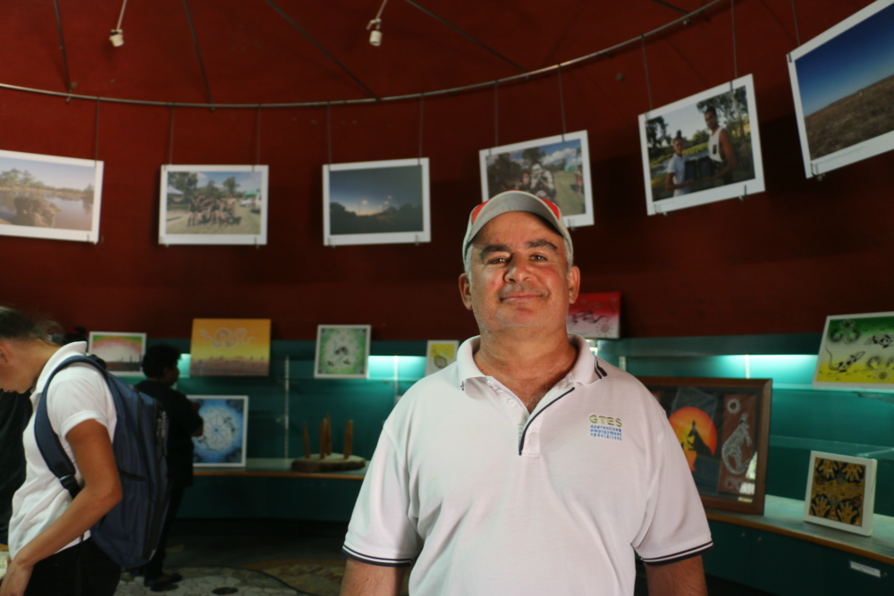 Brad Steadman at the Brewarrina Aboriginal Cultural Museum. Image courtesy: Christopher (Burra) McHughes