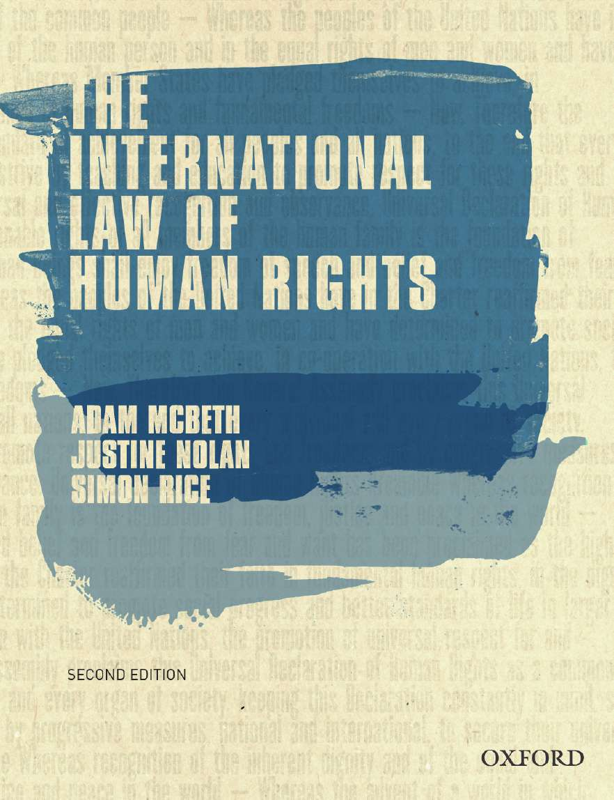 Book cover showing the words the international law of human rights