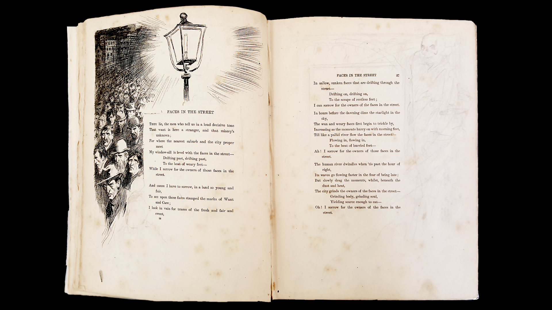 Picture of an open poetry book with hand sketches.