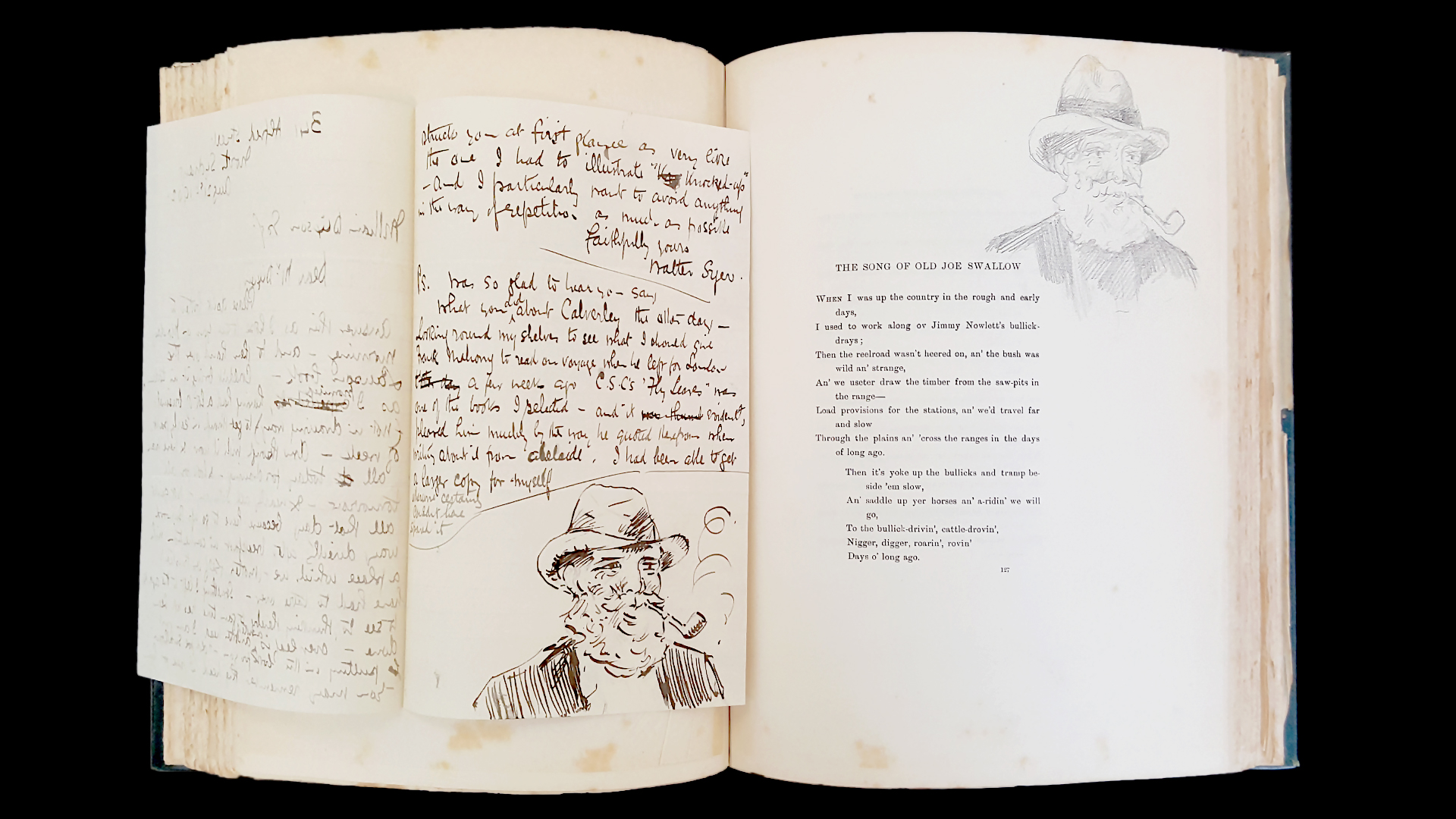 An open poetry book with hand drawings.